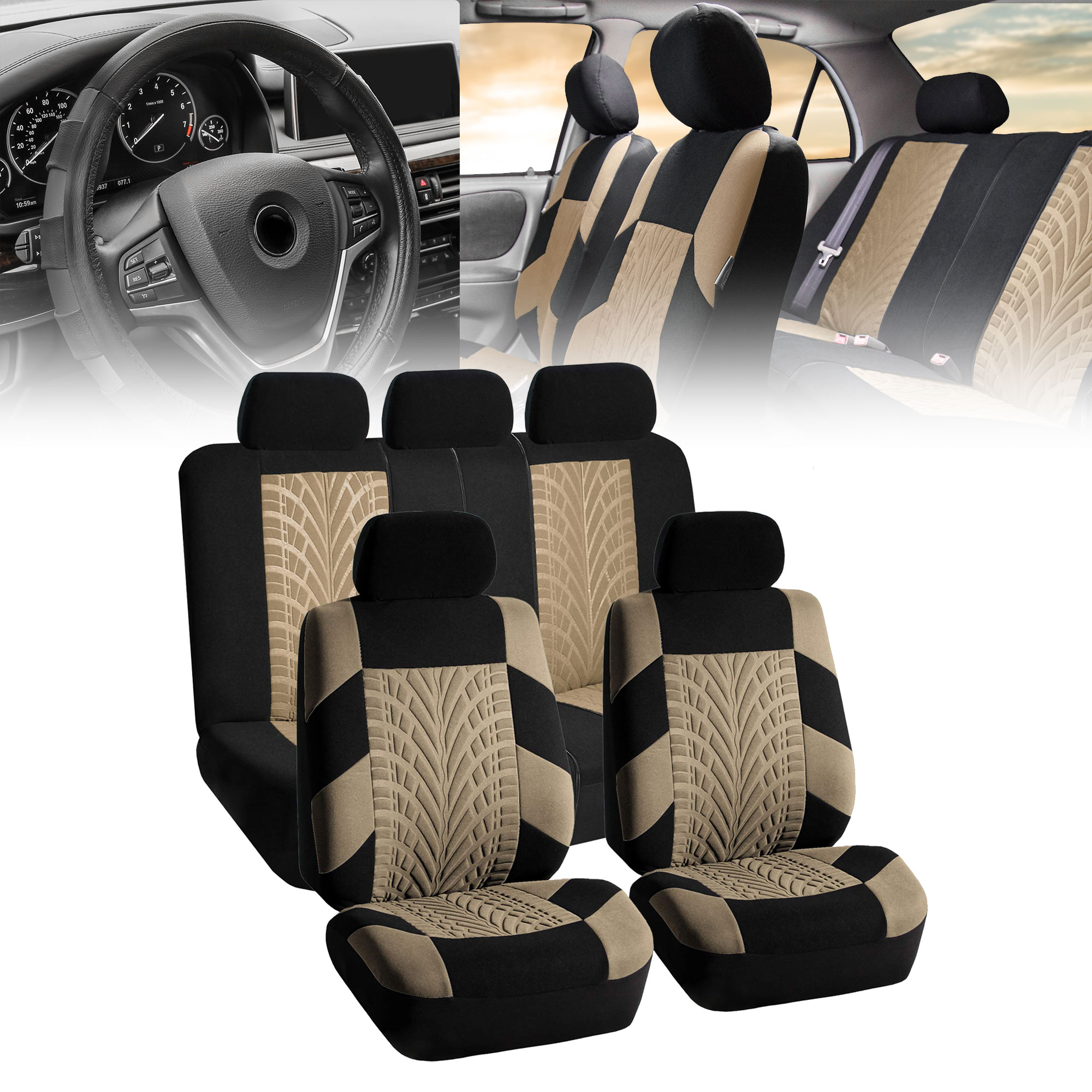 Beige Car Seat Covers for Car SUV with Gray Leather Steering Cover Complete Set