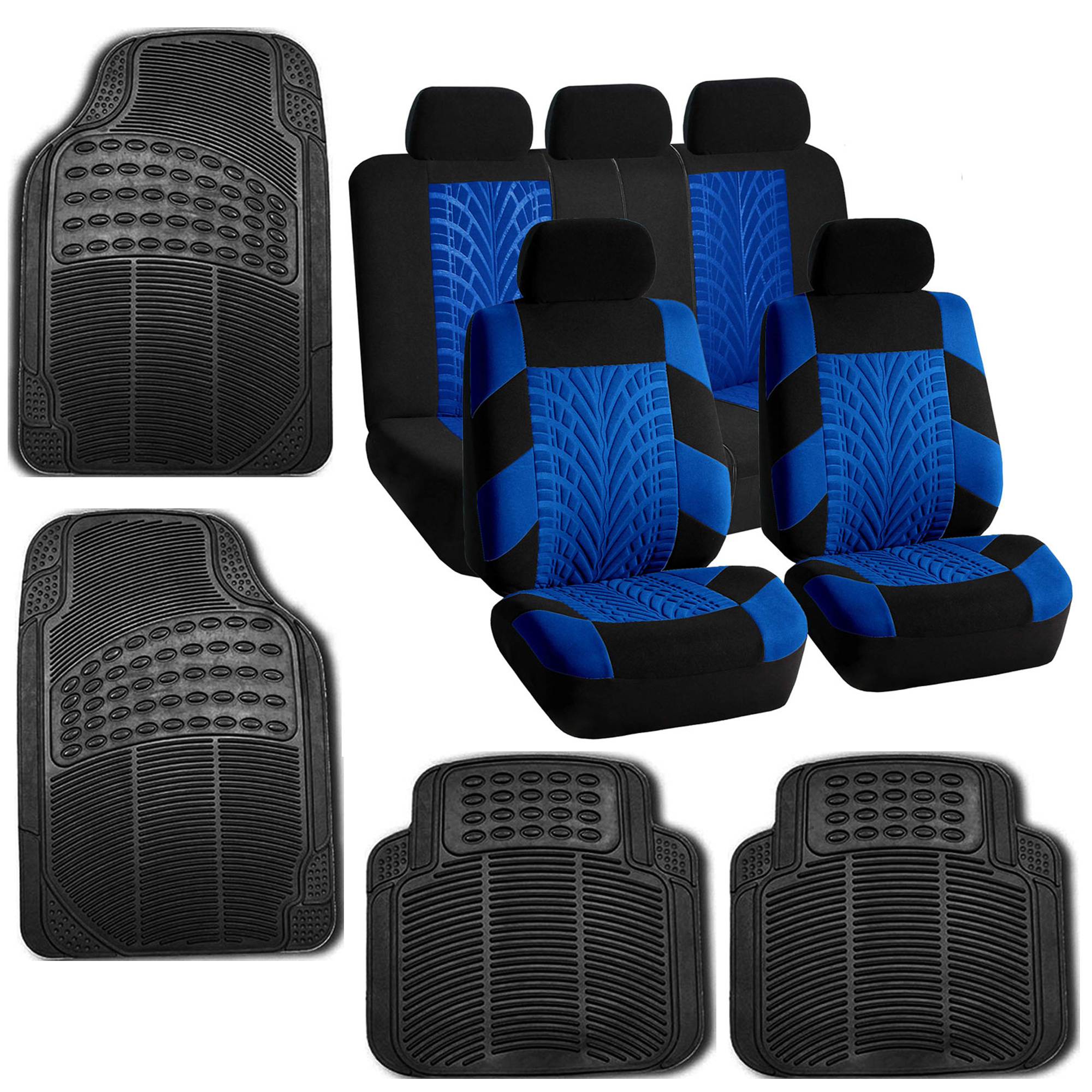 Blue Car Seat Covers Set For Auto W/Floor Mat