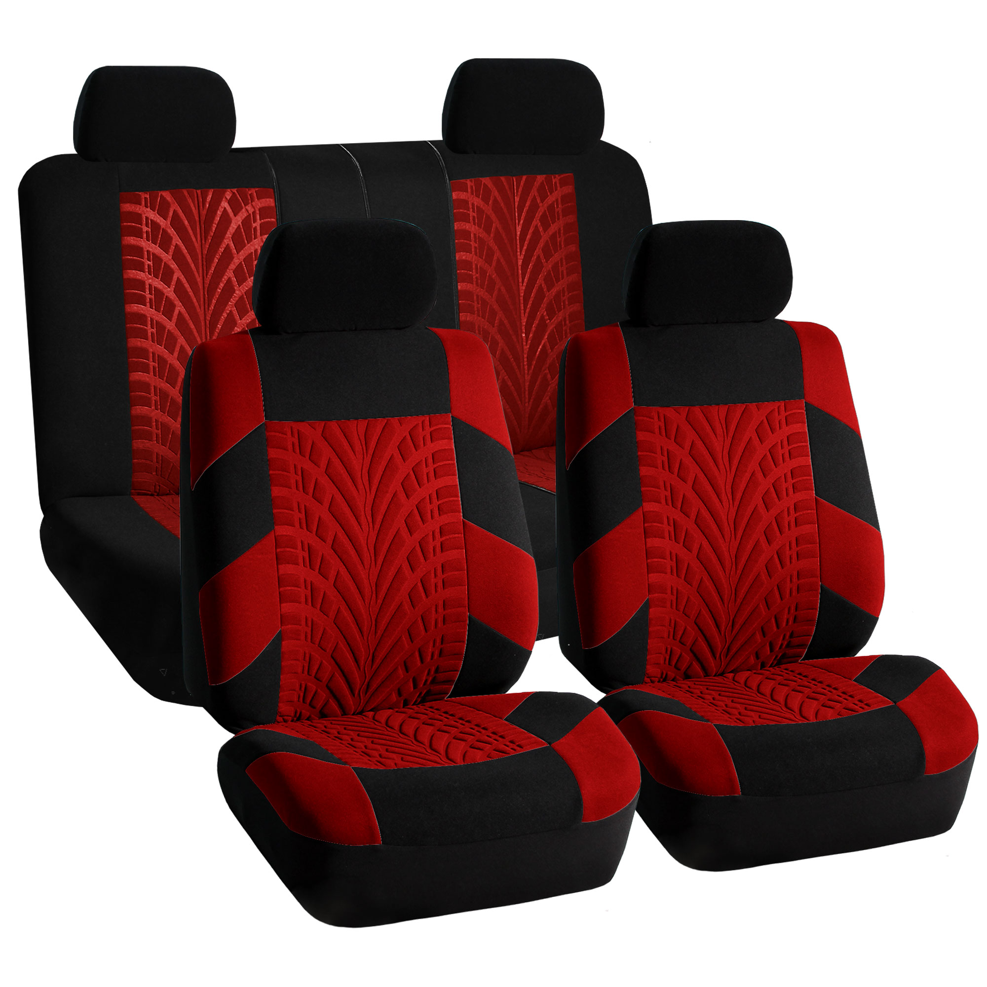 Car Seat Covers Full Set Red Black for Auto SUV w//Headrests