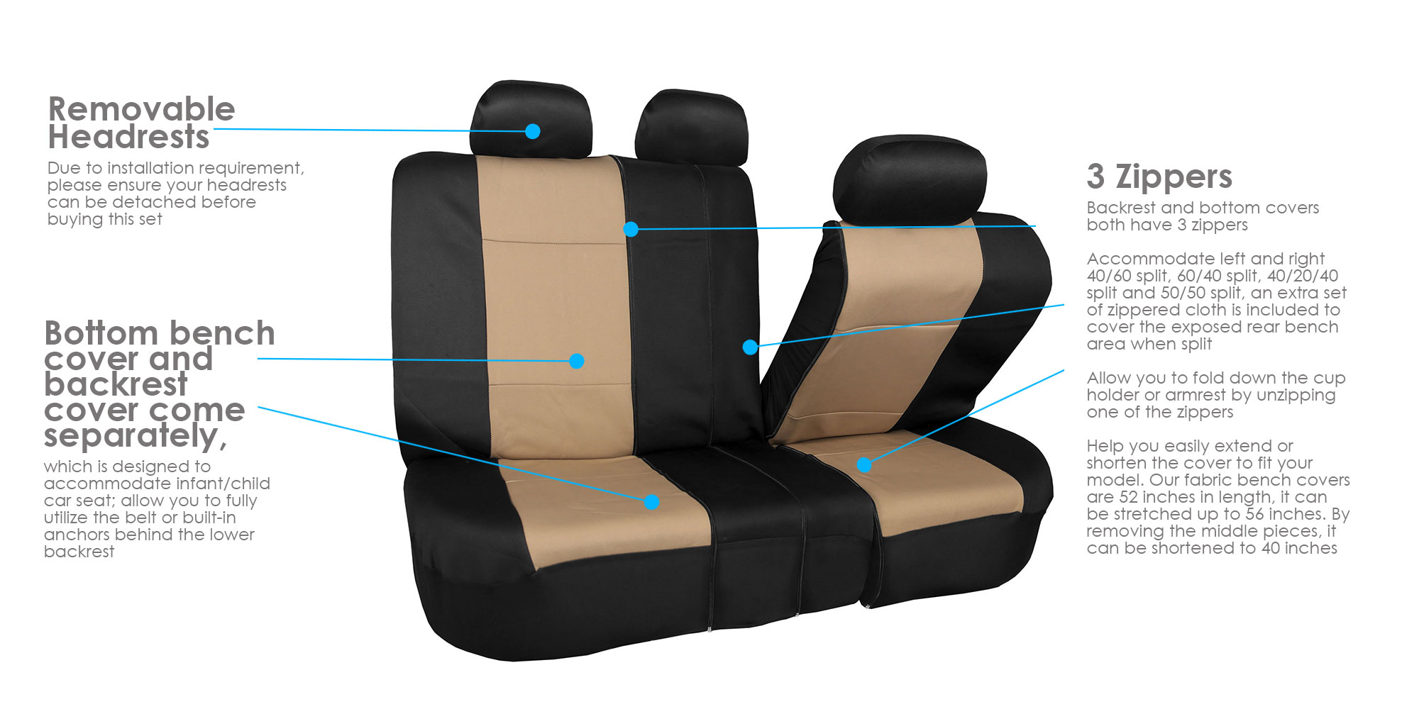 Car-Seat-Cover-Neoprene-Waterproof-Pet-Proof-Full-Set-Cover-With-Dash-Pad thumbnail 8