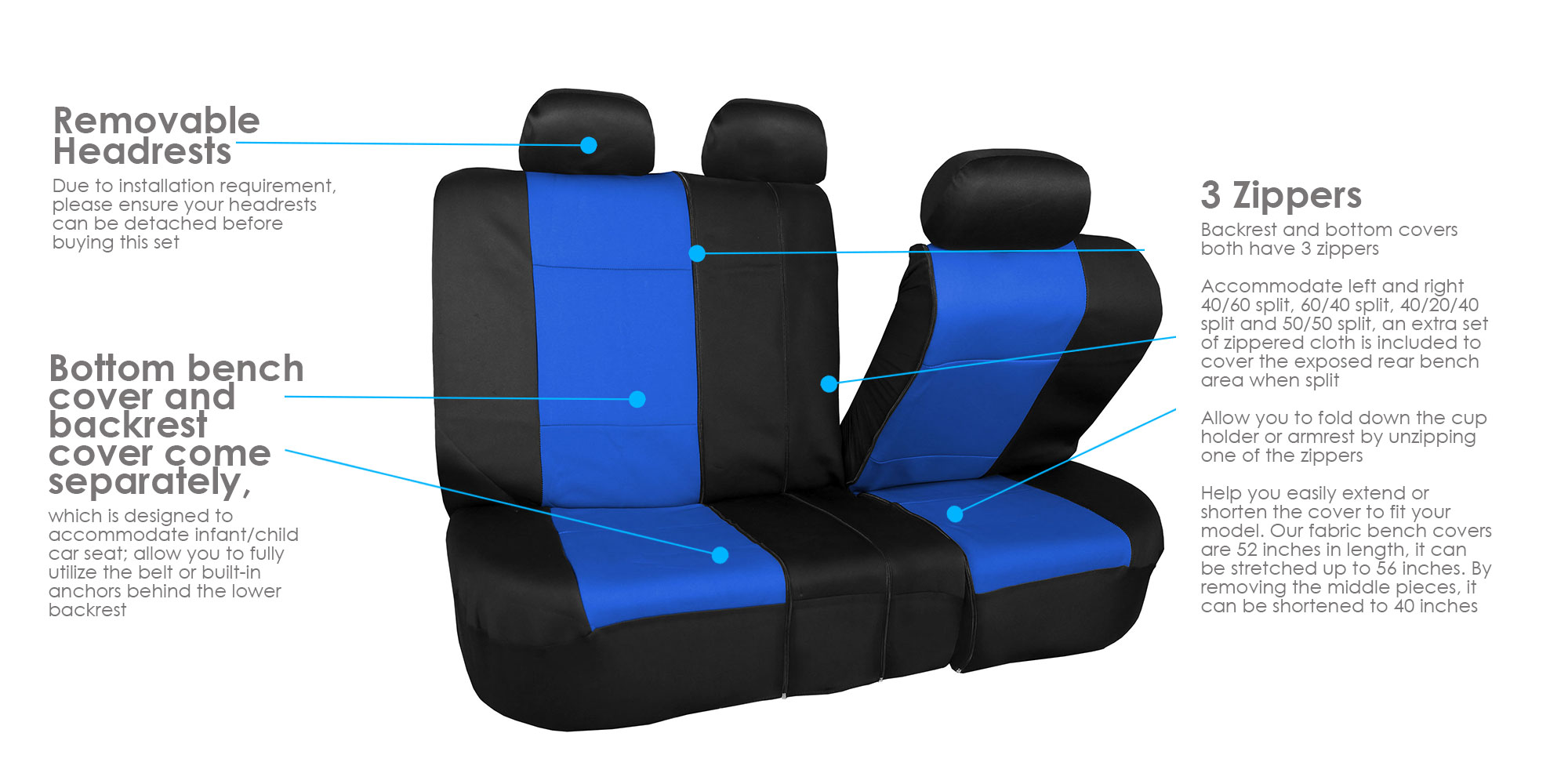 Car-Seat-Cover-Neoprene-Waterproof-Pet-Proof-Full-Set-Cover-With-Dash-Pad thumbnail 33