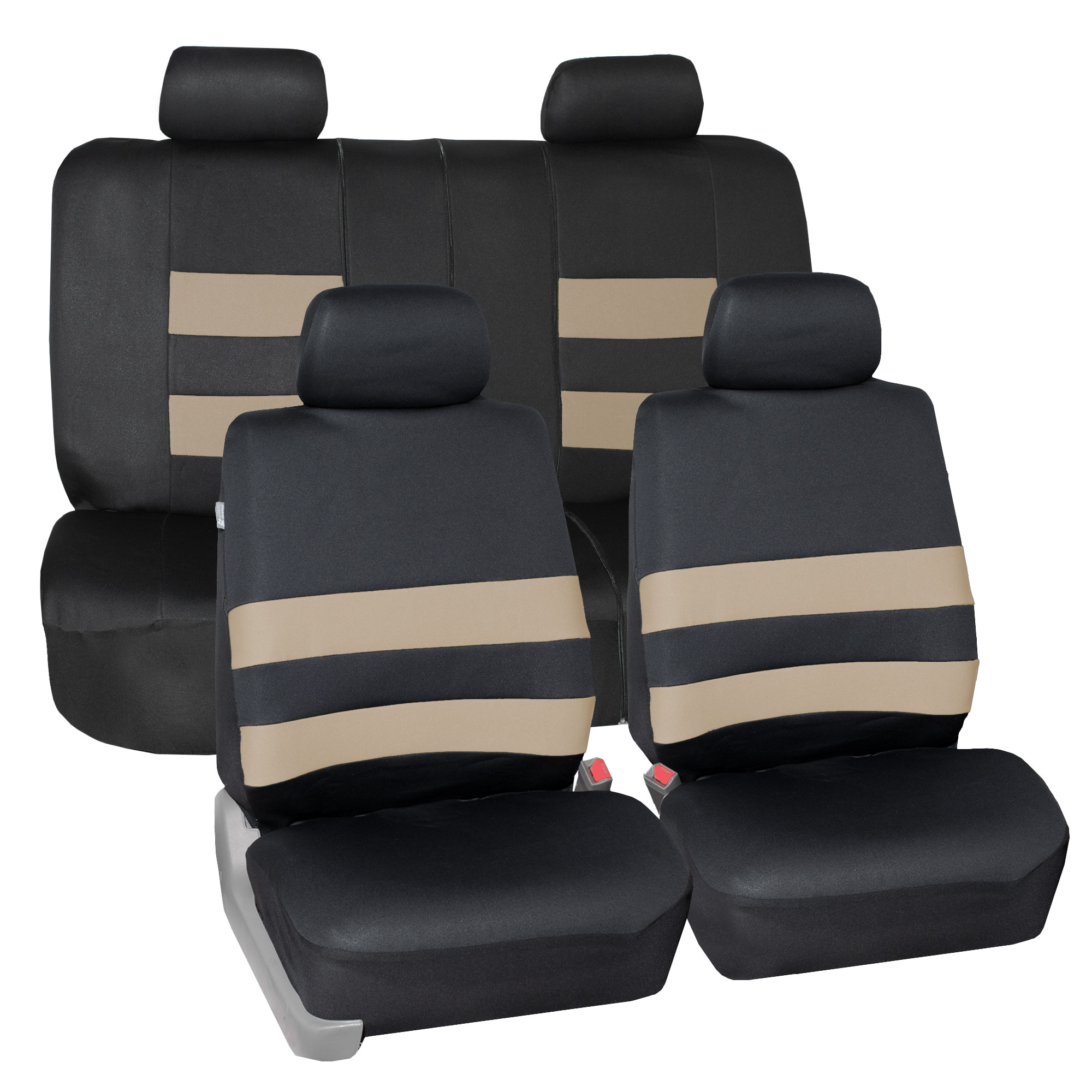 For Toyota New Flat Cloth Black and Tan  Front and Rear Car Seat Covers Set