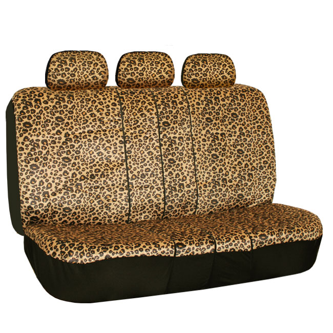 Car Seat Covers Brown Leopard Velour With Rubber Floor Mat
