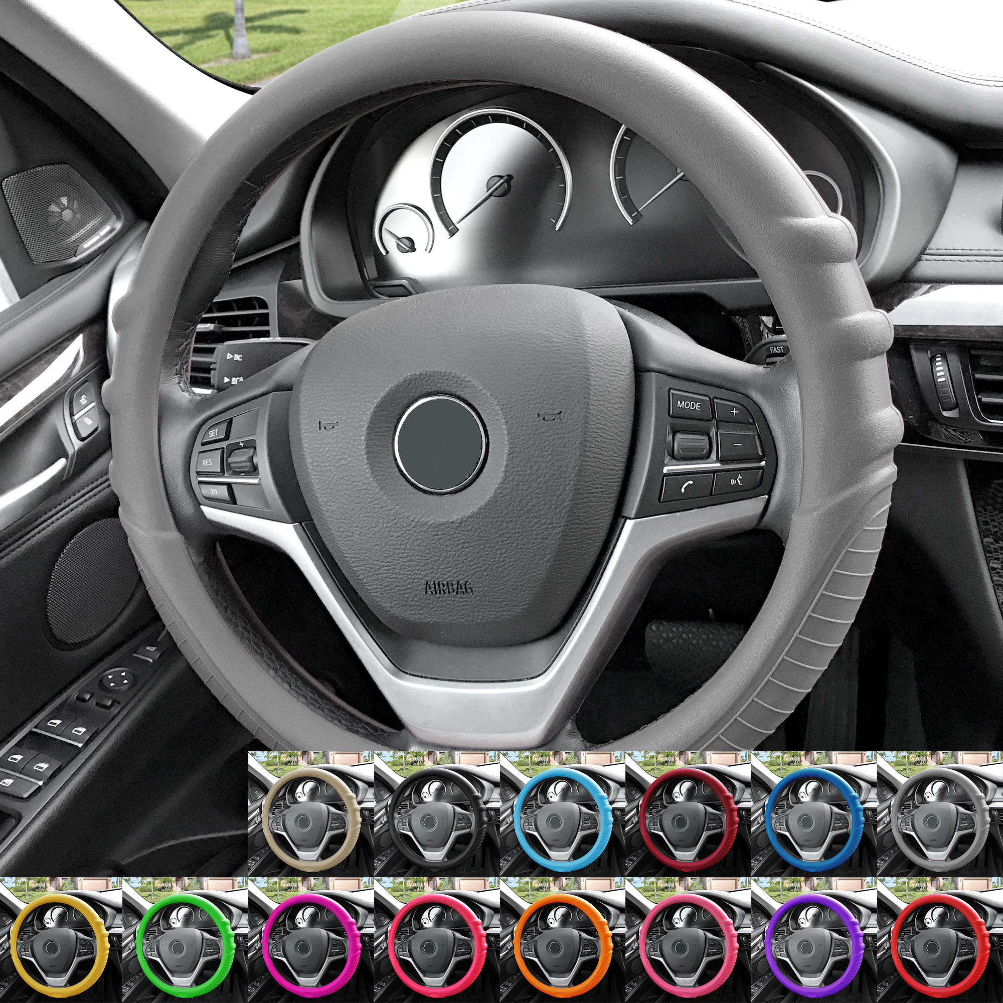silicone steering wheel cover top quality grip marks design ebay. Black Bedroom Furniture Sets. Home Design Ideas