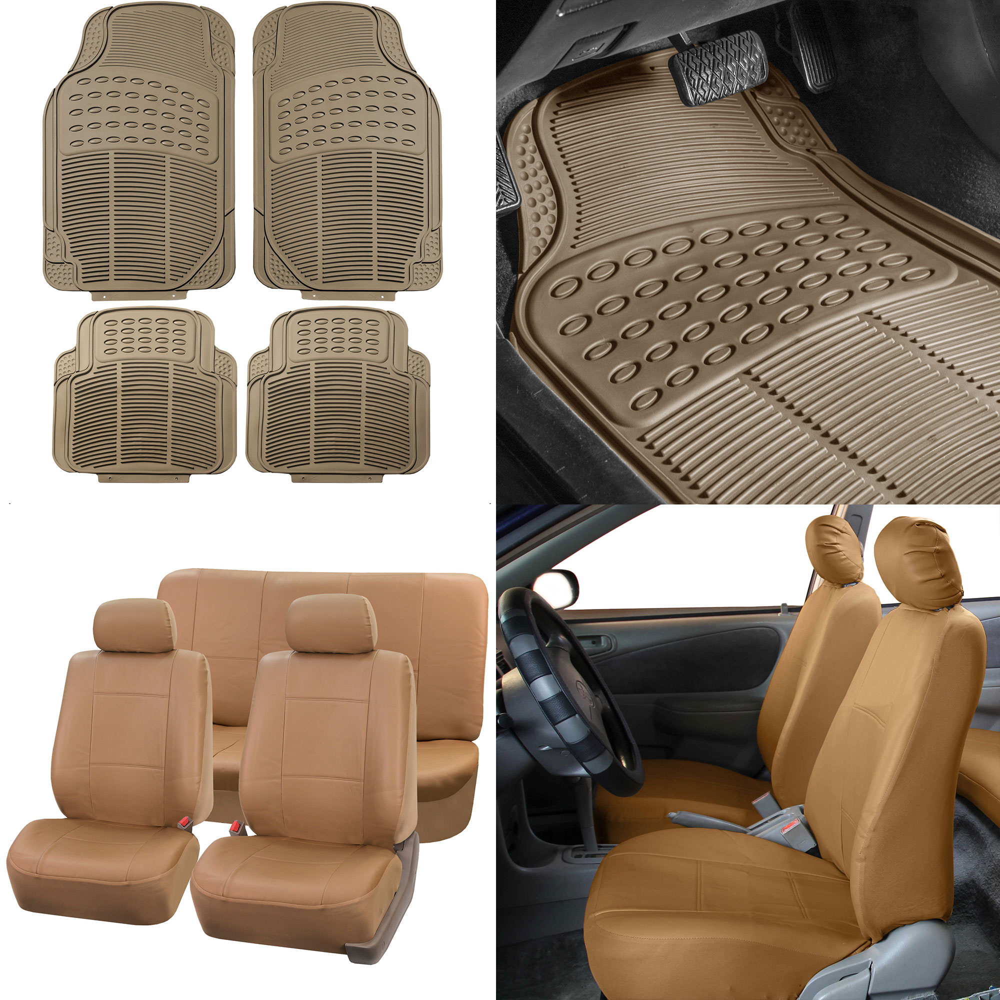 Tan PU Leather Seat Covers For Car SUV W/ Beige Heavy Duty