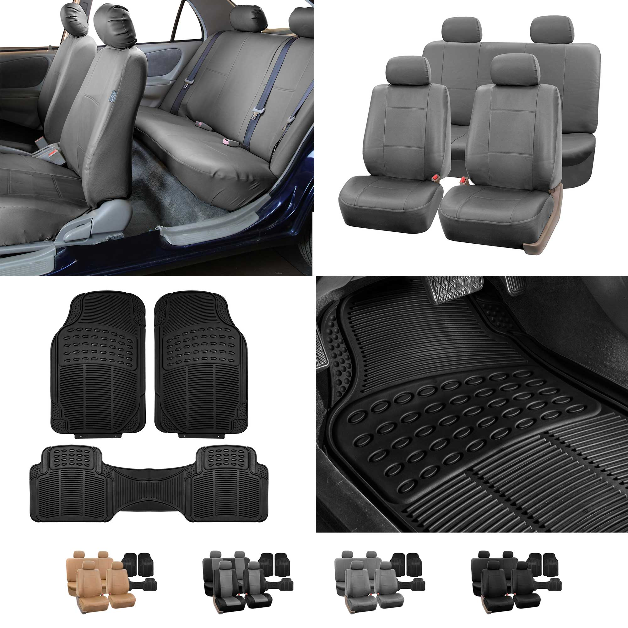 Fine Pu Leather Car Seat Covers W Floor Mats For Split Bench Caraccident5 Cool Chair Designs And Ideas Caraccident5Info