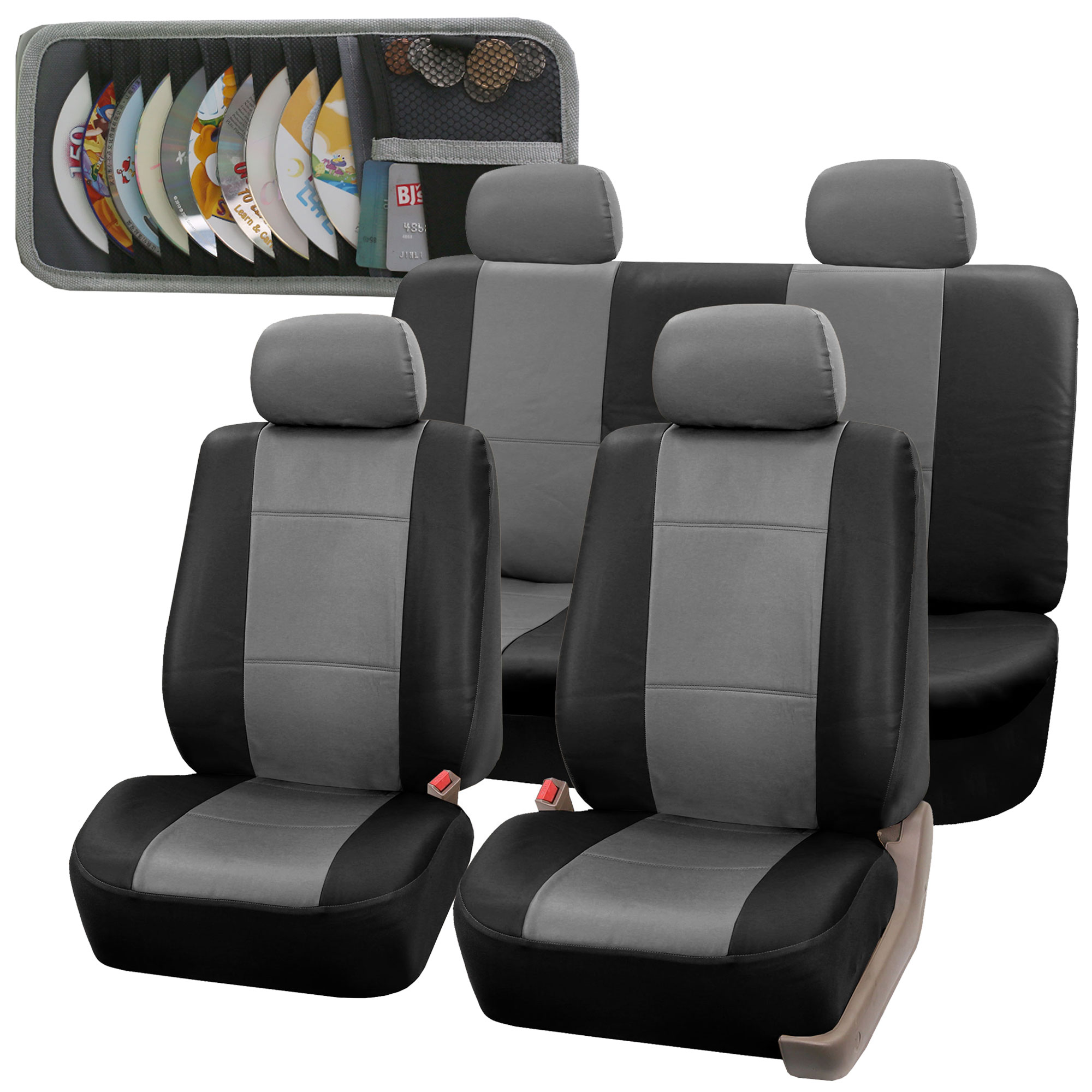 Image Is Loading Faux Leather Car Seat Covers Sporty Set Gray