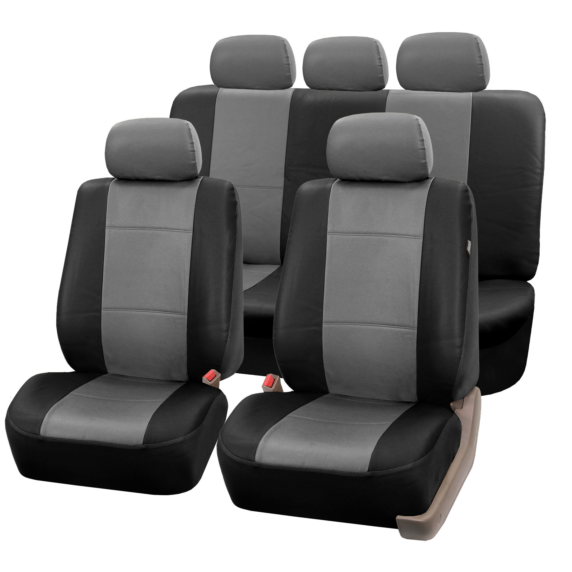 PREMIUM BLACK TAN SYNTHETIC LEATHER CAR SEAT STEERING COVERS SET FOR NISSAN