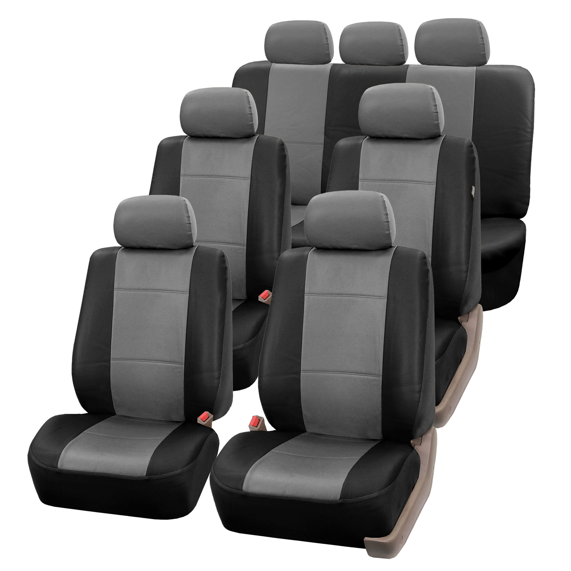 3 Row Faux Leather Car Seat Covers For Auto Suv Truck