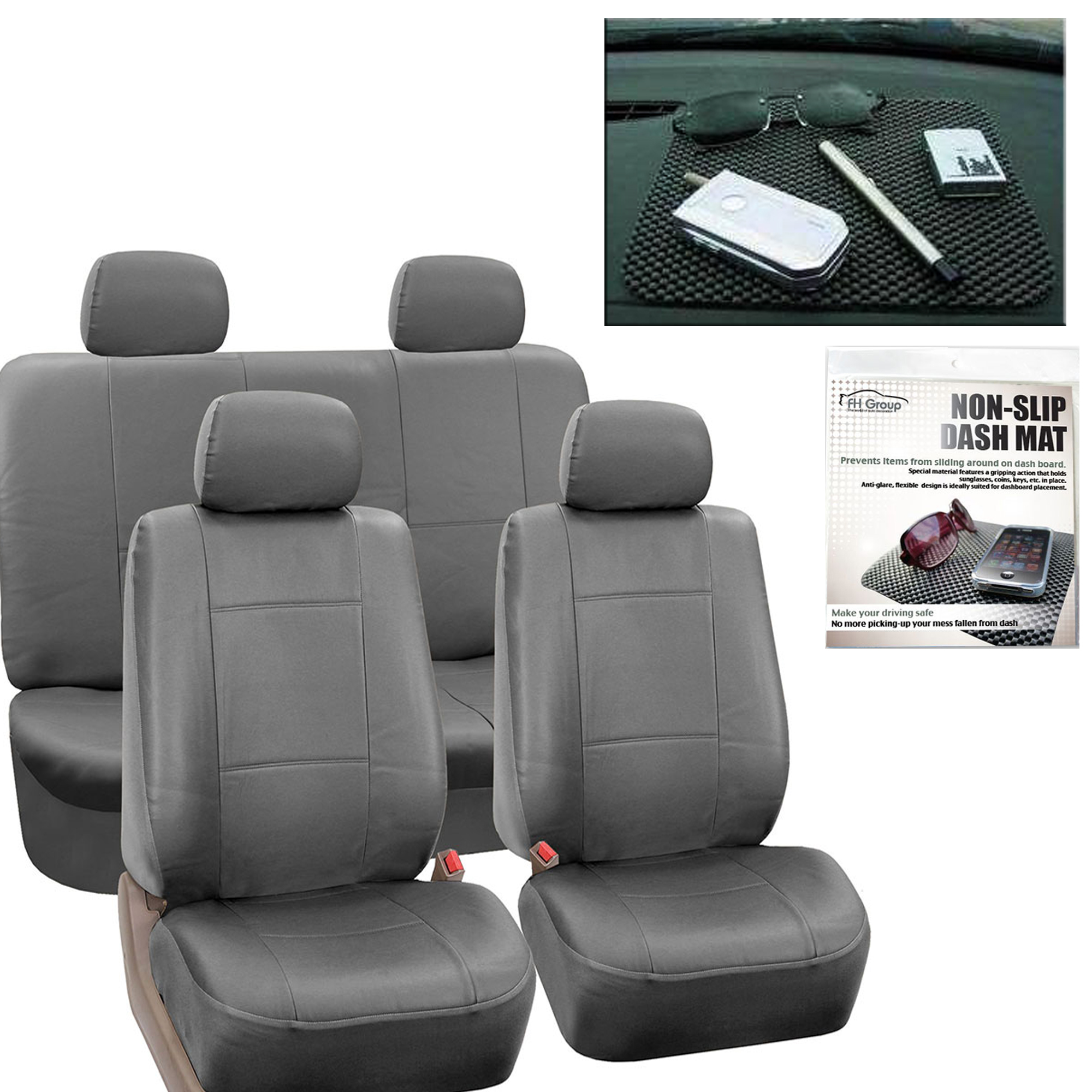 Faux Leather Car Seat Covers Gray With Headrests/Dash Grip