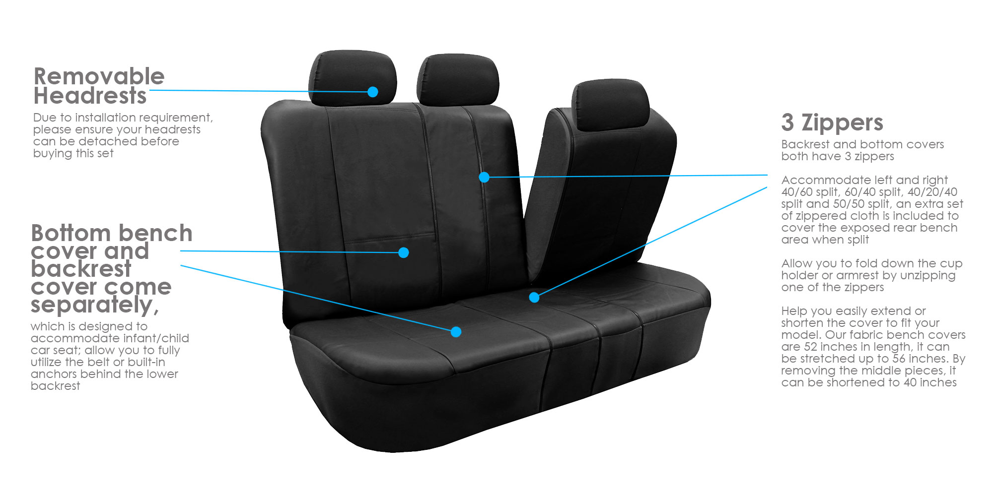 3 Row PU Leather Seat Covers Airbag Safe