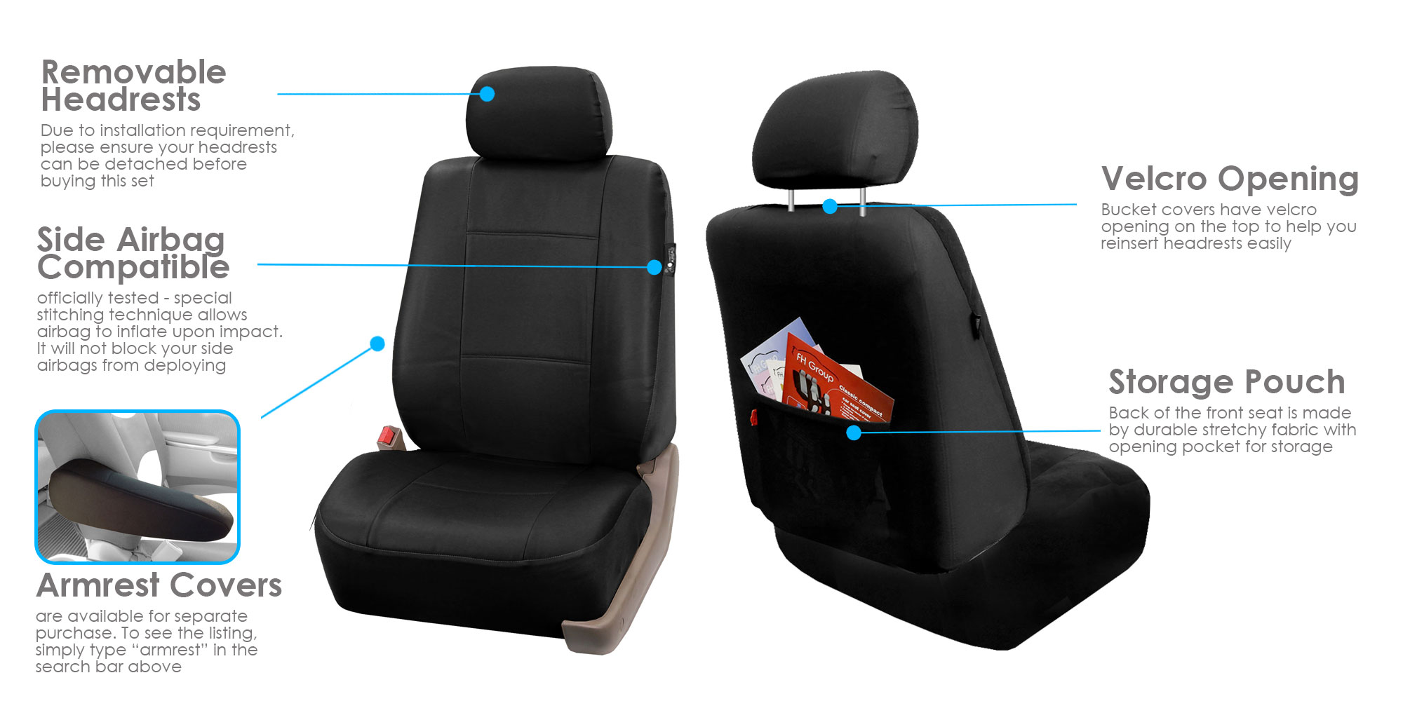 Black Faux Leather Car Seat Cover Set Headrests