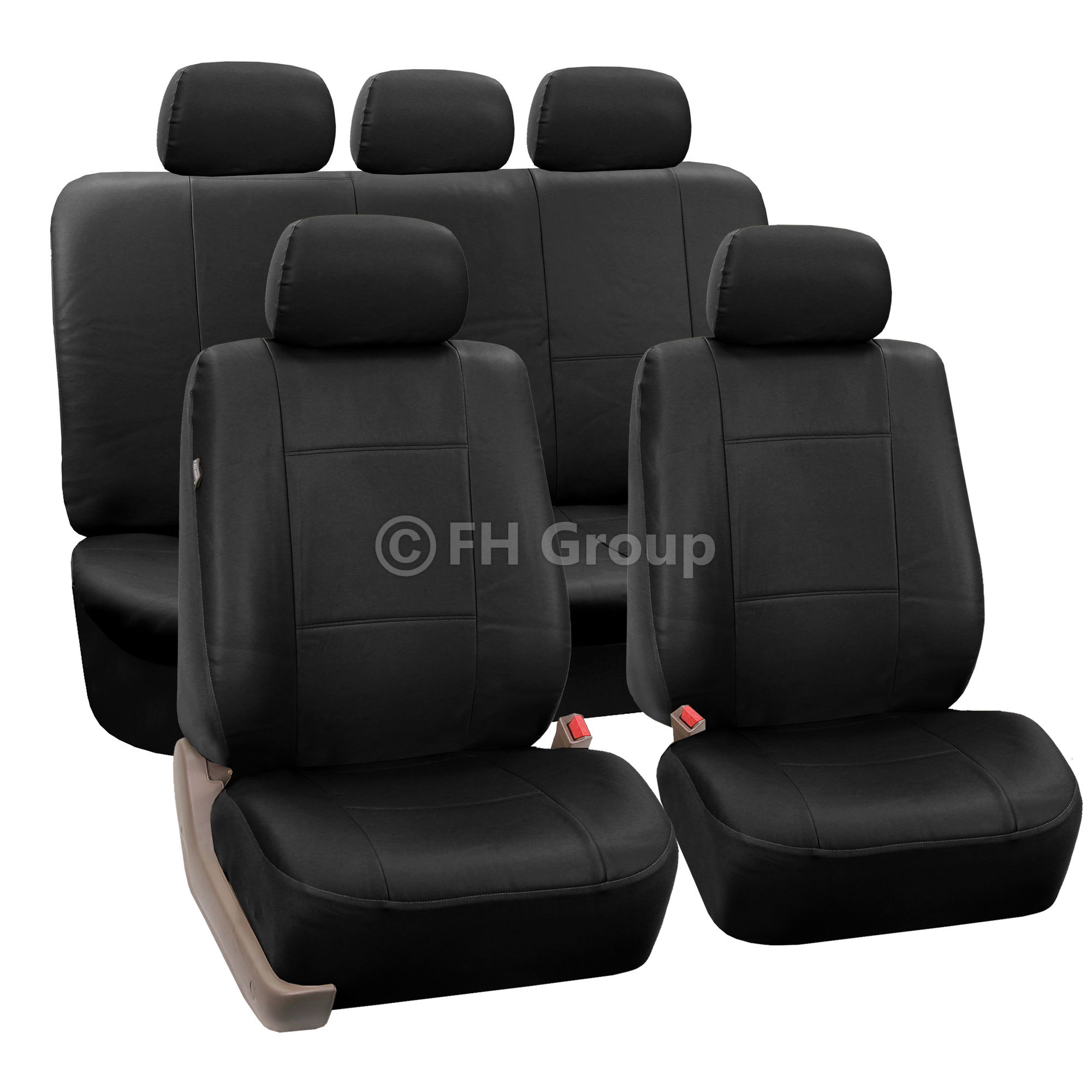 PU Leather Car Seat Covers W. Carpet Floor Mats For Split