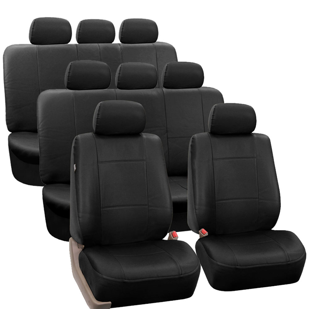 3 row pu leather seat covers for suv air bag safe split bench ready ebay. Black Bedroom Furniture Sets. Home Design Ideas