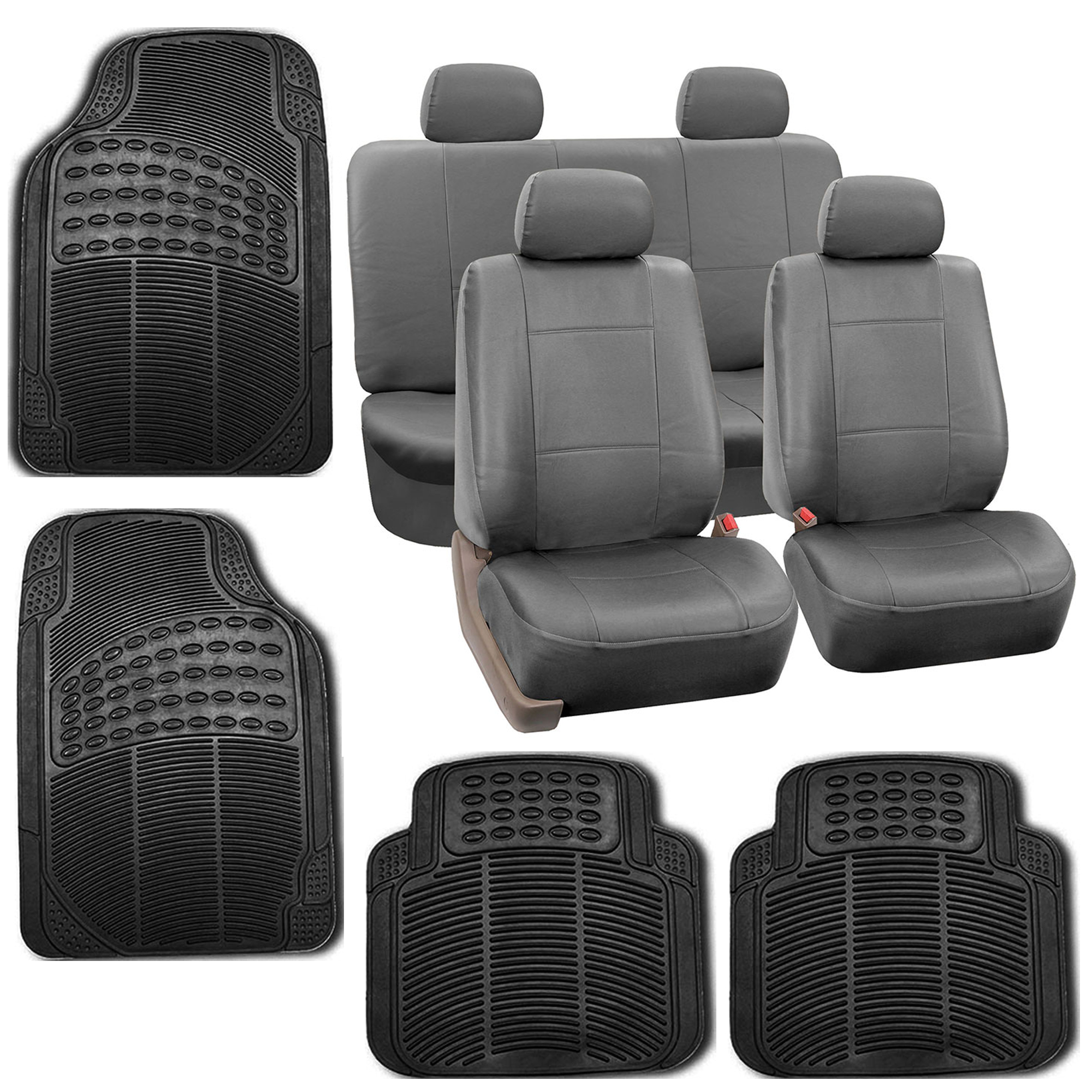 gray faux leather car seat cover set headrests floor mat set 800222115601 ebay. Black Bedroom Furniture Sets. Home Design Ideas