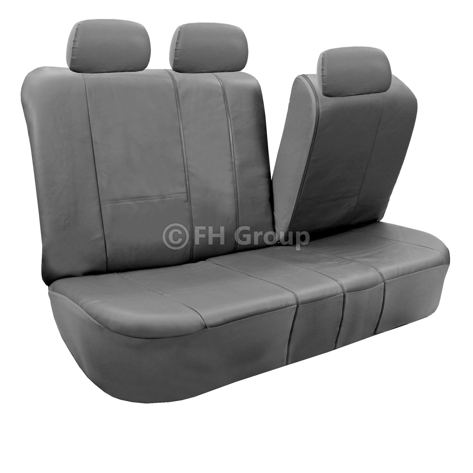 Gray Faux Leather Car Seat Cover Set Headrests Floor Mat