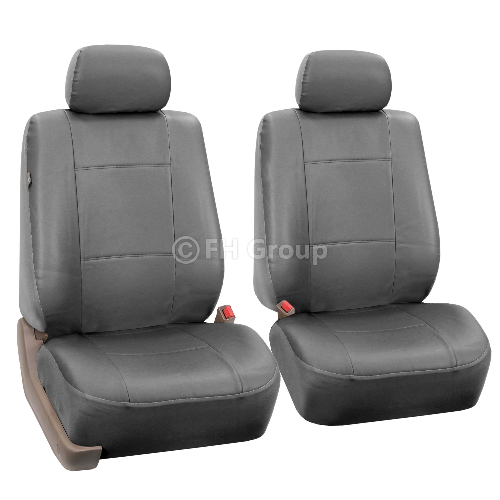 Gray Faux Leather Car Seat Cover Set Headrests
