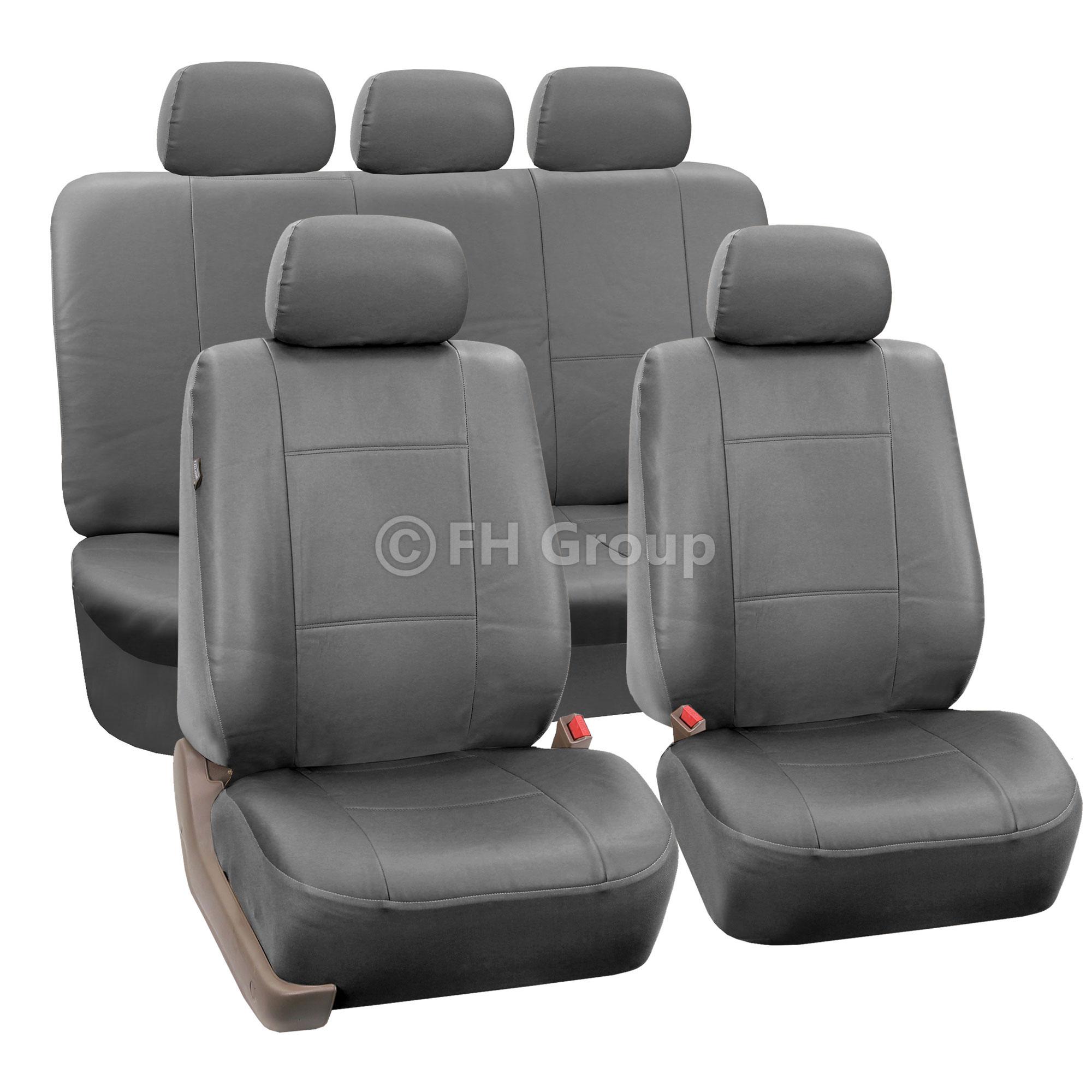 Gray Faux Leather Car Seat Cover Set Headrests Floor Mat Set ...