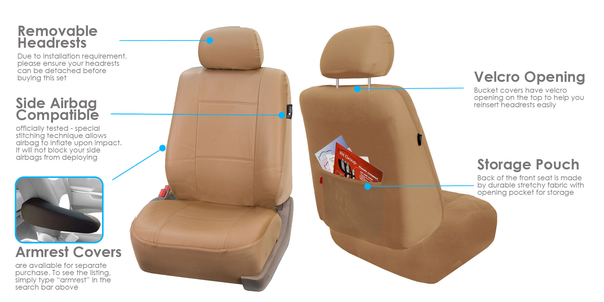 Pair Bucket PU Leather Seat Covers For Detachable