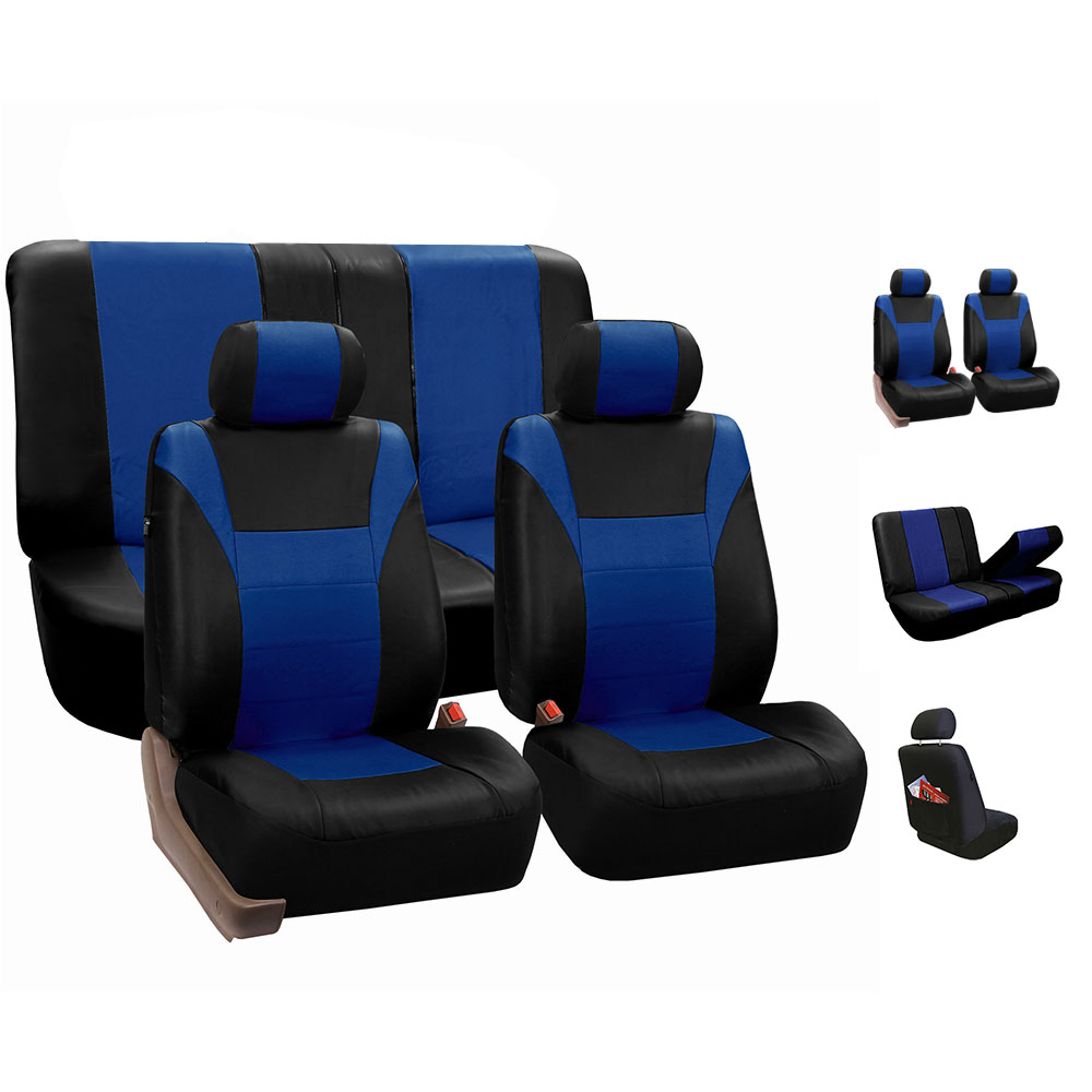 Faux Leather Car Seat Covers For Auto Car Sporty Blue