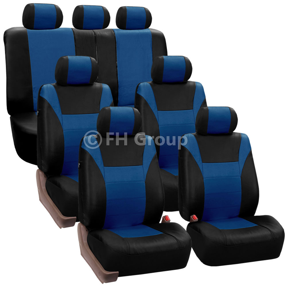 Racing PU Leather 3 Row Seat Covers For