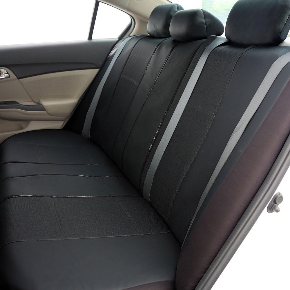 3 Row Faux Leather Car Seat Covers Airbag