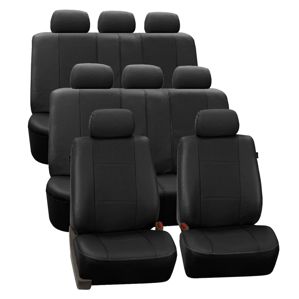 3 row car seat covers faux leather luxury top quality for minivan suv ebay. Black Bedroom Furniture Sets. Home Design Ideas