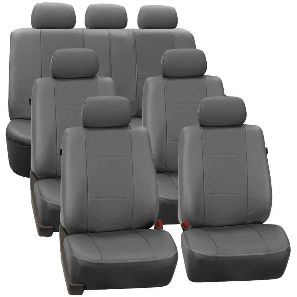 3 row faux leather car seat covers airbag safety for minivan suv ebay. Black Bedroom Furniture Sets. Home Design Ideas