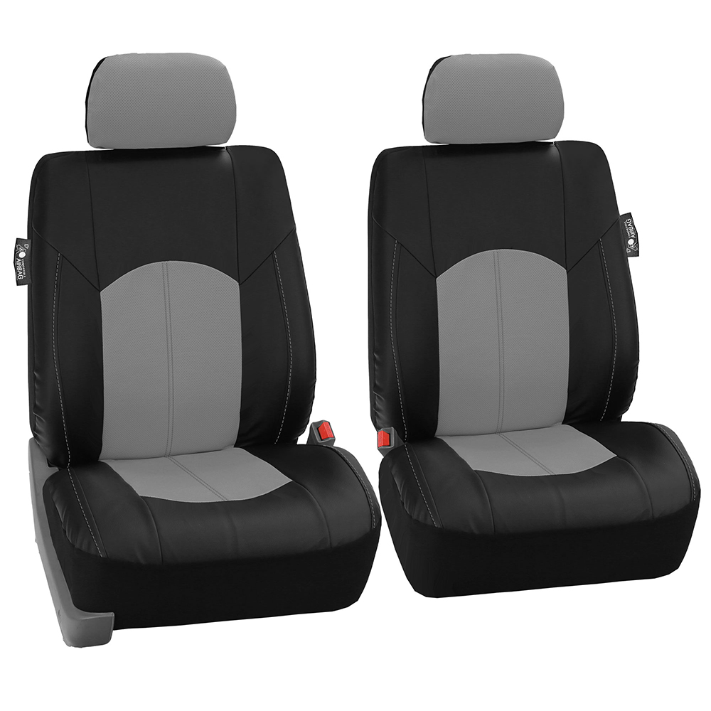 Black Gray PU Leather Car Seat Cover Set Headrests Floor