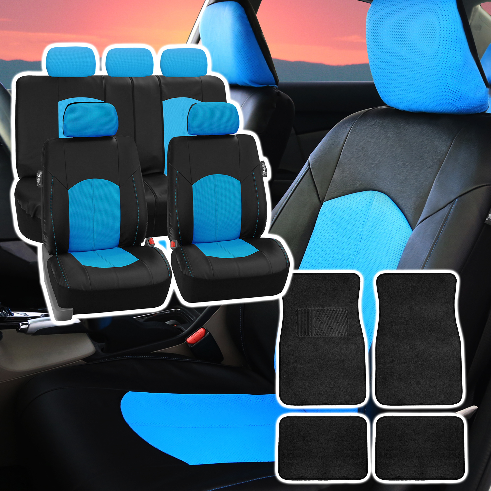 deluxe perforated leather car seat cover blue w floor mat ebay. Black Bedroom Furniture Sets. Home Design Ideas