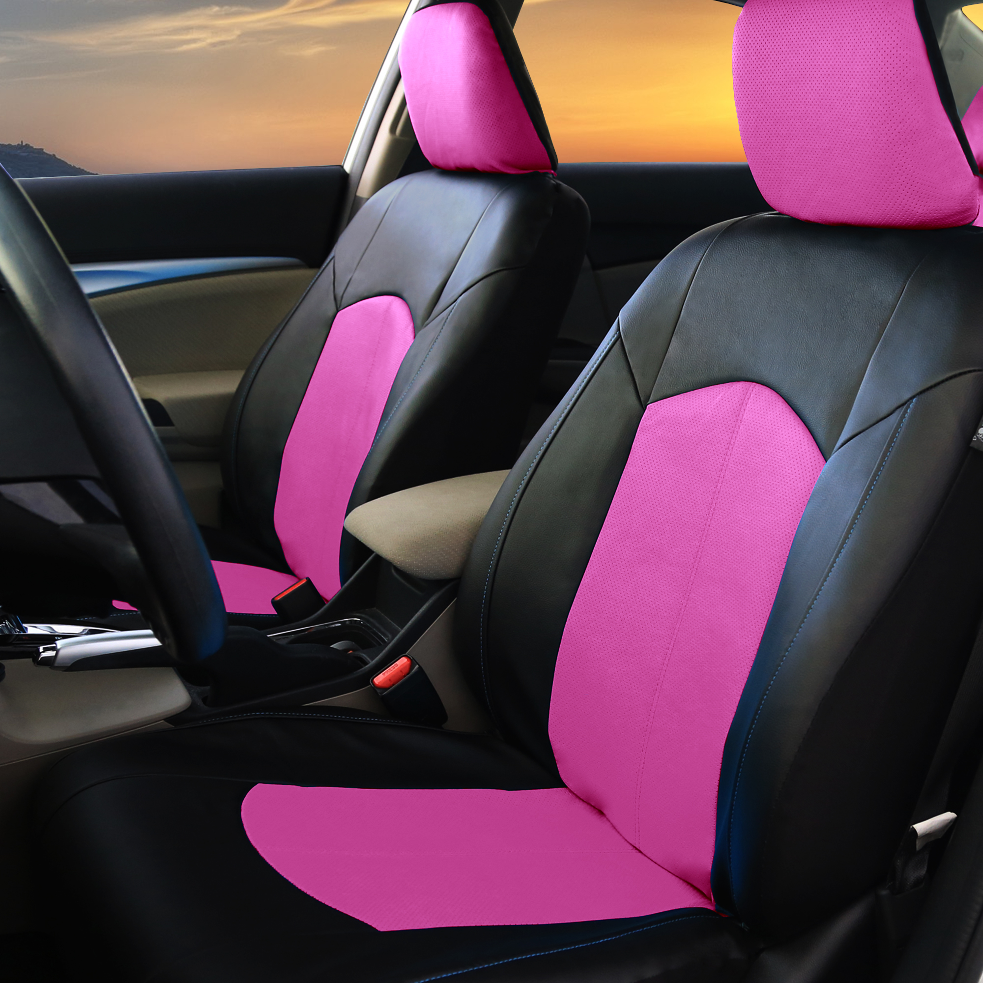 Pu Leather Car Seat Covers For Auto Pink Black 5 Headrests Black