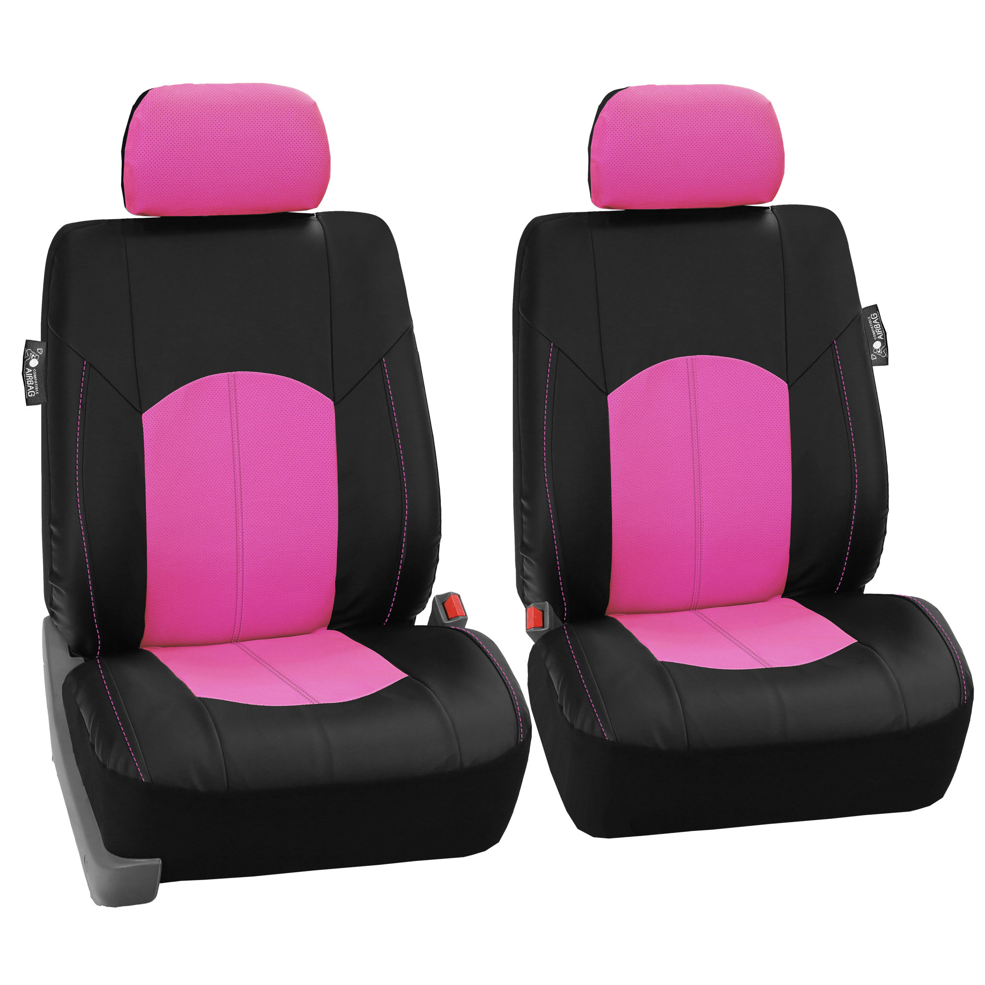pu leather car seat covers for auto pink black 5 headrests black floor mat ebay. Black Bedroom Furniture Sets. Home Design Ideas