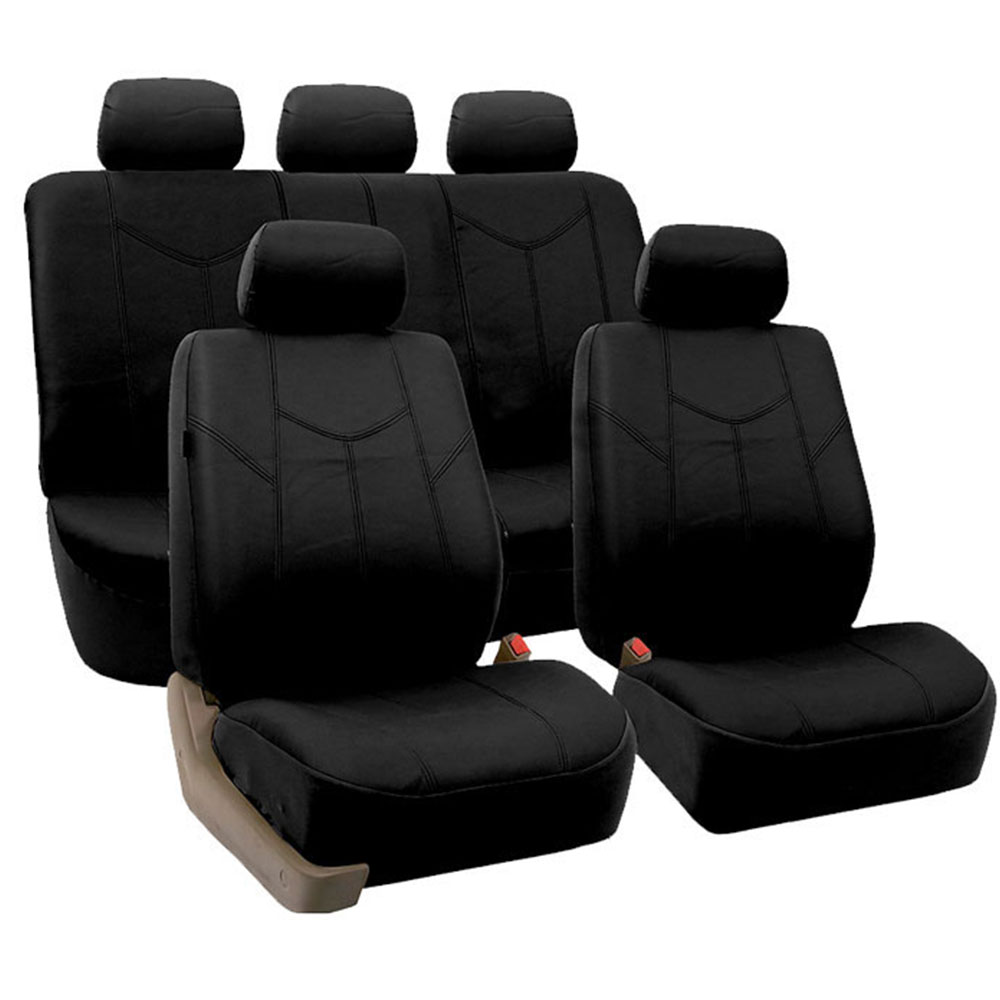 black pu leather car seat cover set headrests floor mat set ebay. Black Bedroom Furniture Sets. Home Design Ideas