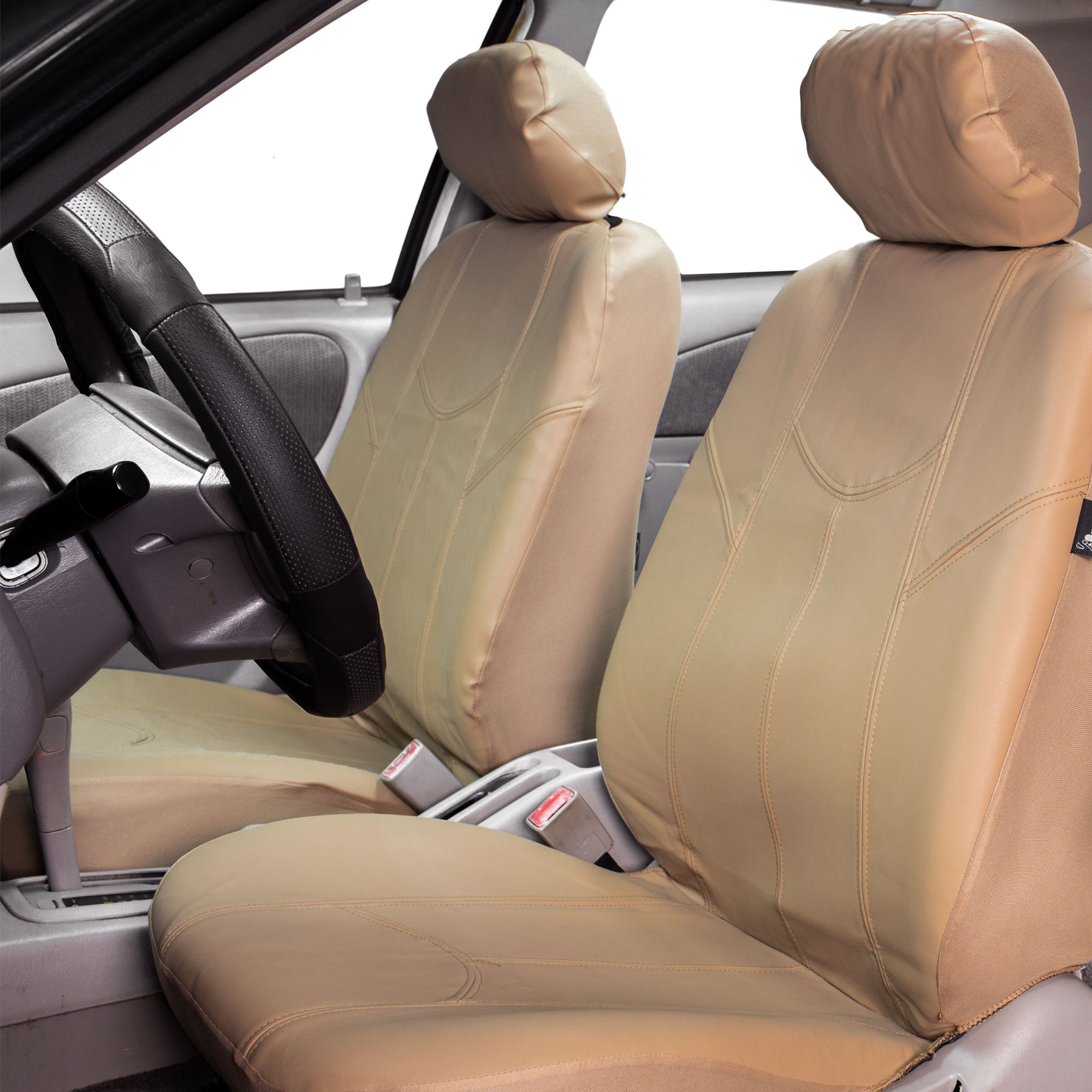 Faux leather car seat covers luxury set tan free gift - Car seat covers for tan interior ...