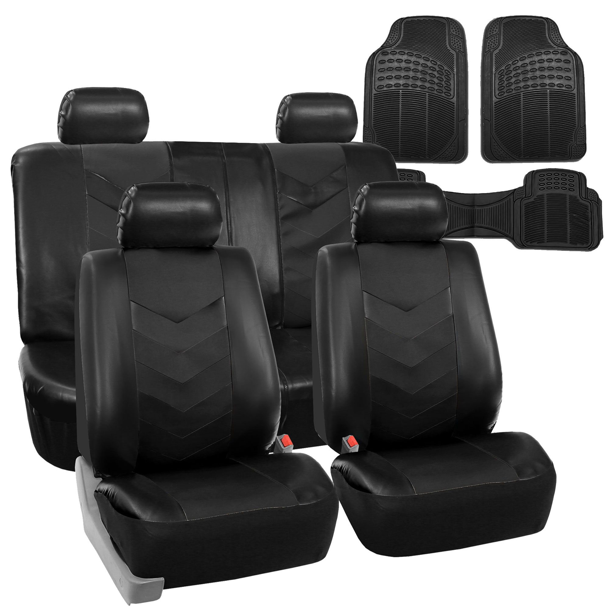 Faux Leather Car Seat Covers For Car Black W/ Heavy Duty
