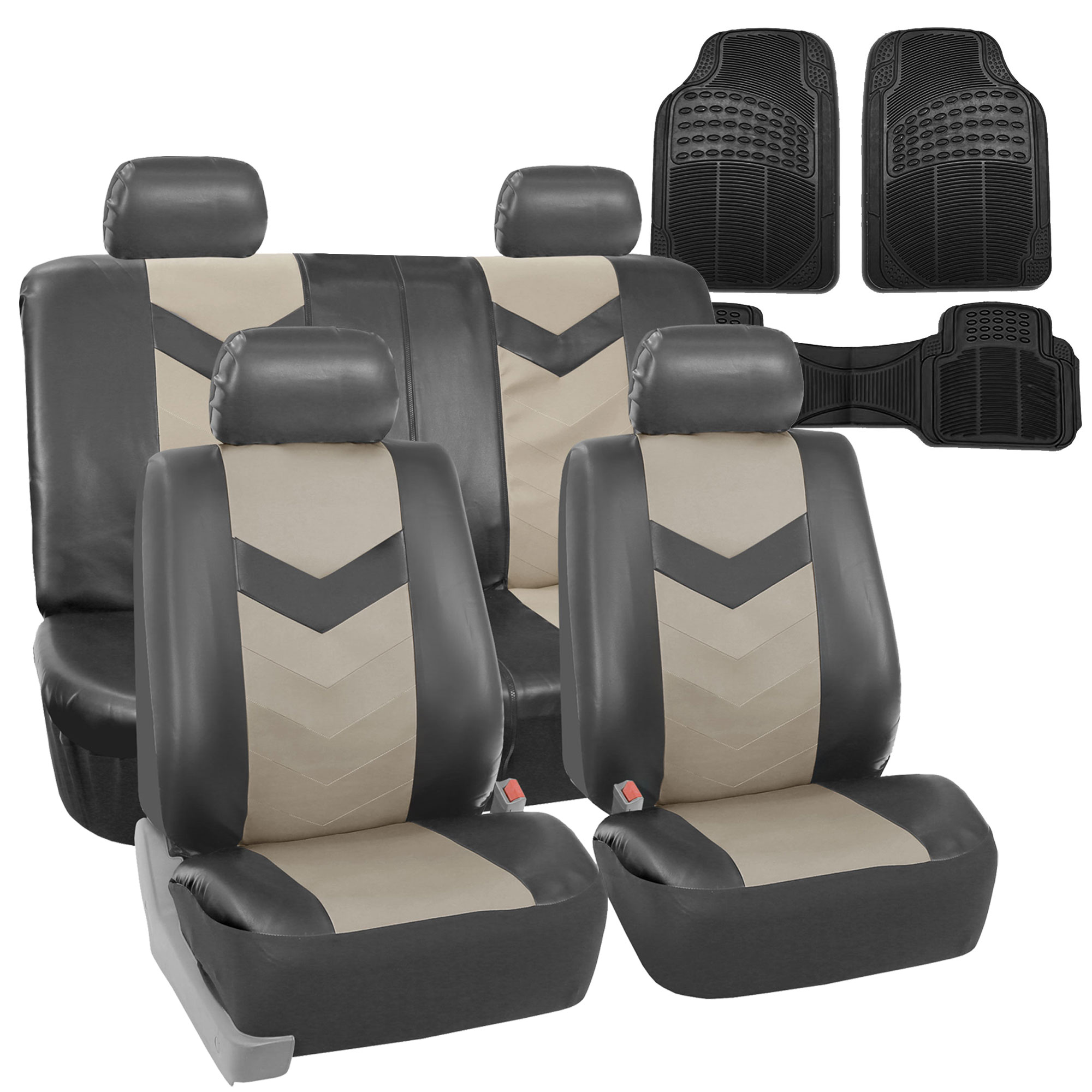 Faux Leather Car Seat Covers For Car Gray W/ Heavy Duty