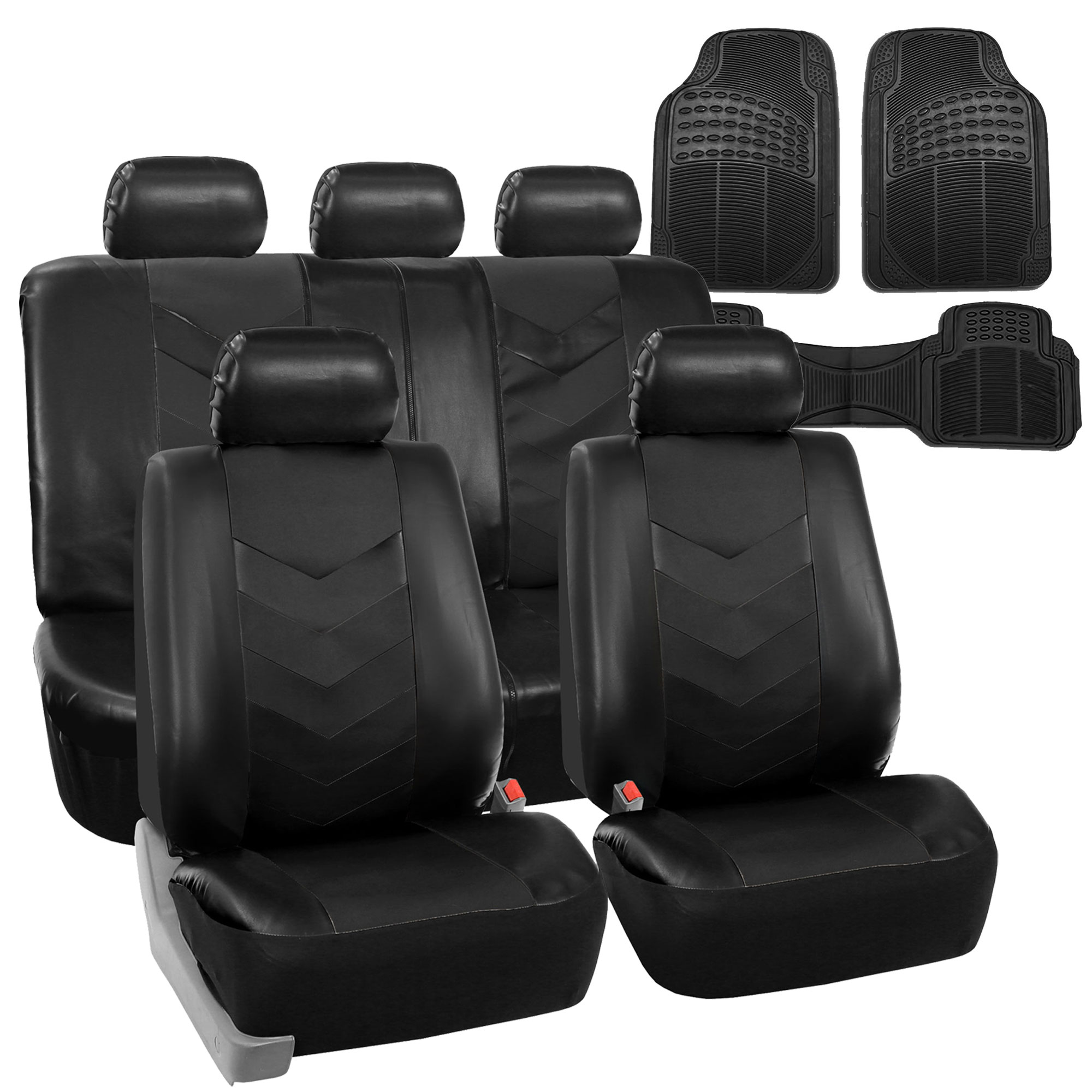 PU-Leather-Car-Seat-Covers-amp-Black-All-Weather-Floor-Mats-Full-Interior-Set