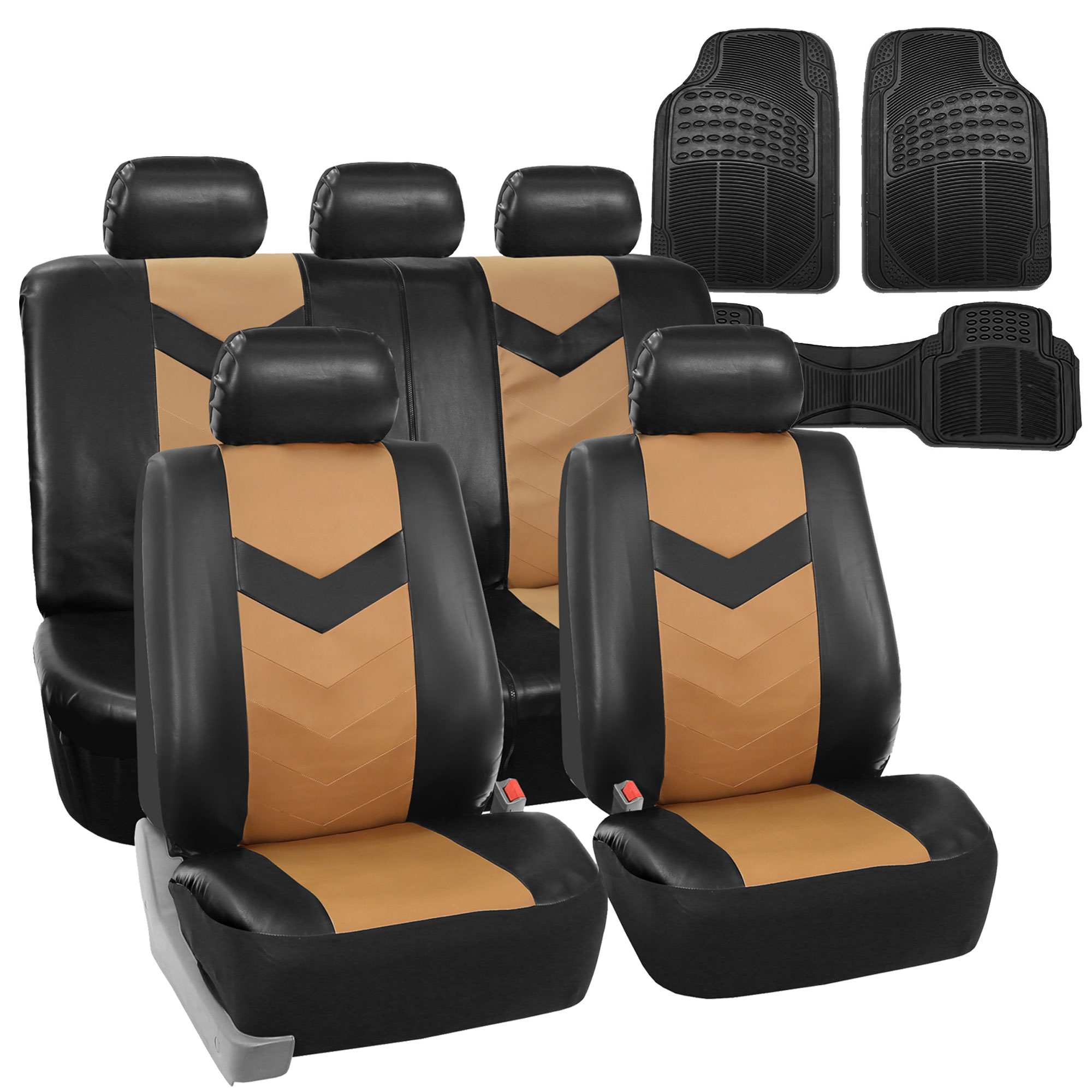 PU Leather Car Seat Covers & Black All Weather Floor Mats
