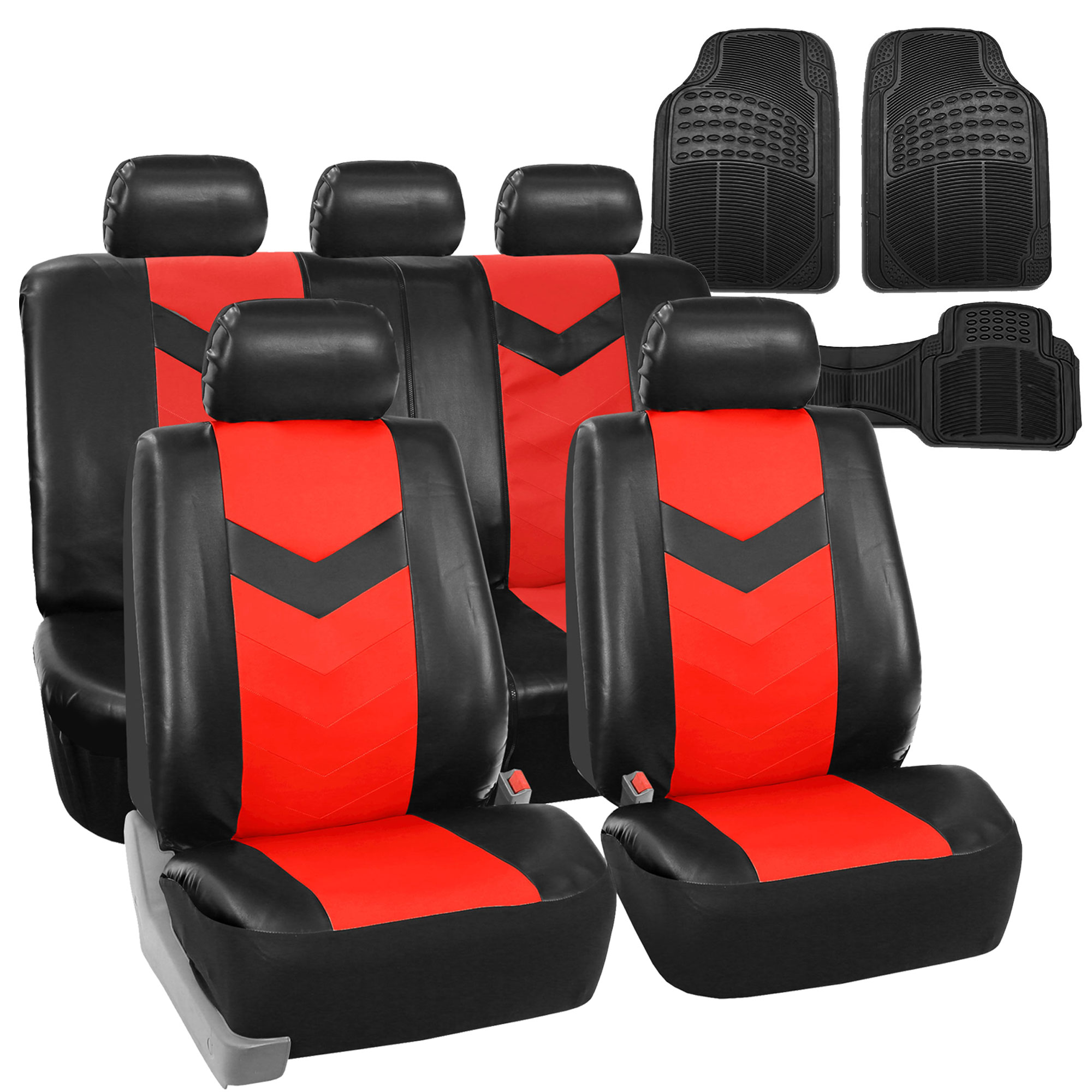 Rubber mats ebay - Faux Leather Car Seat Covers For Auto Red W Heavy Duty Floor Mats Ebay