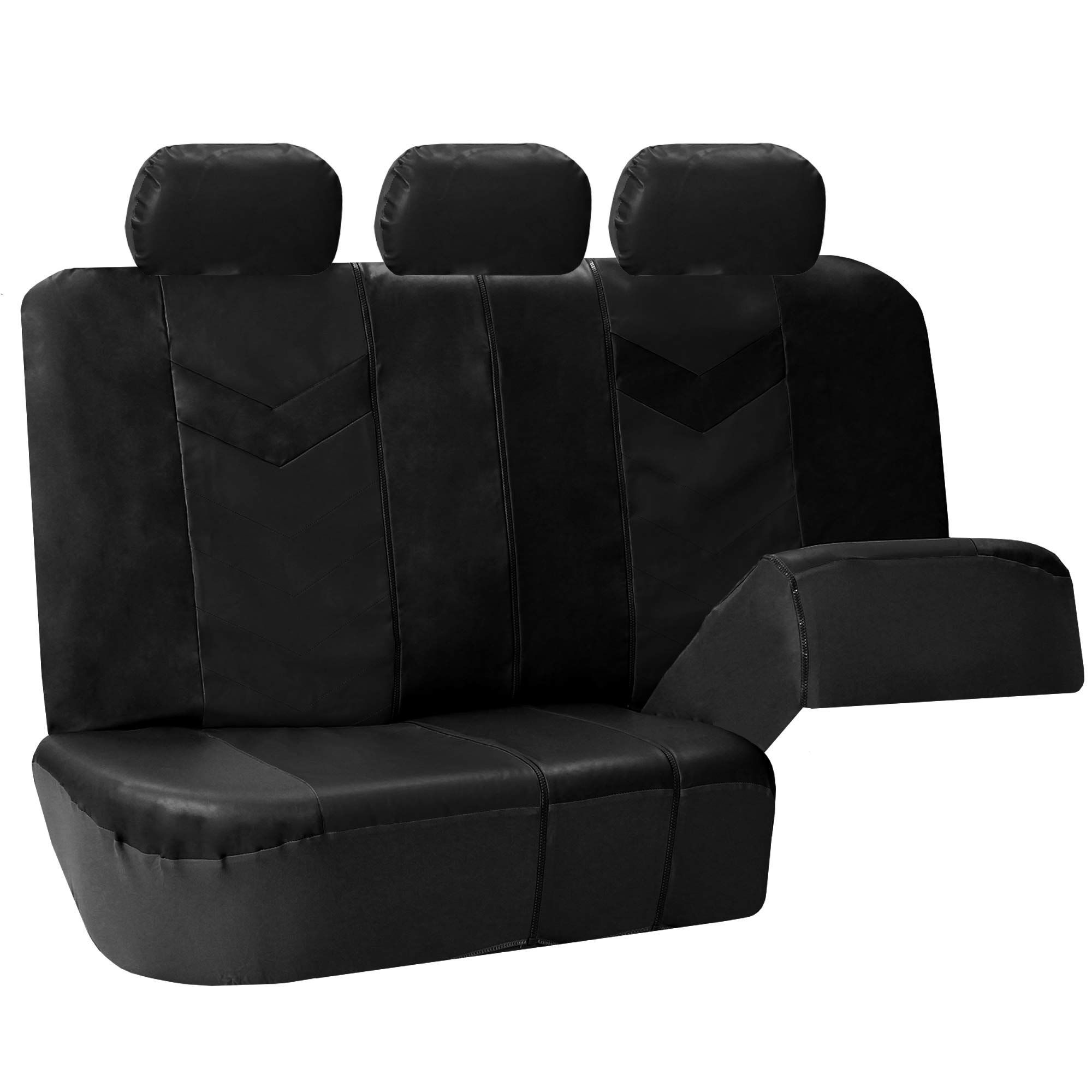 3 Row Car Seat Covers Leather 7 Seater Suv Van Set Black