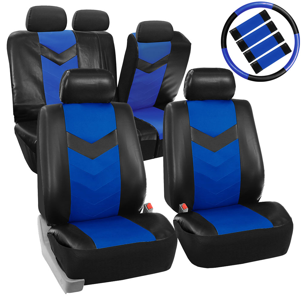 pu leather car seat covers for auto w steering cover belt pads dash pad ebay. Black Bedroom Furniture Sets. Home Design Ideas