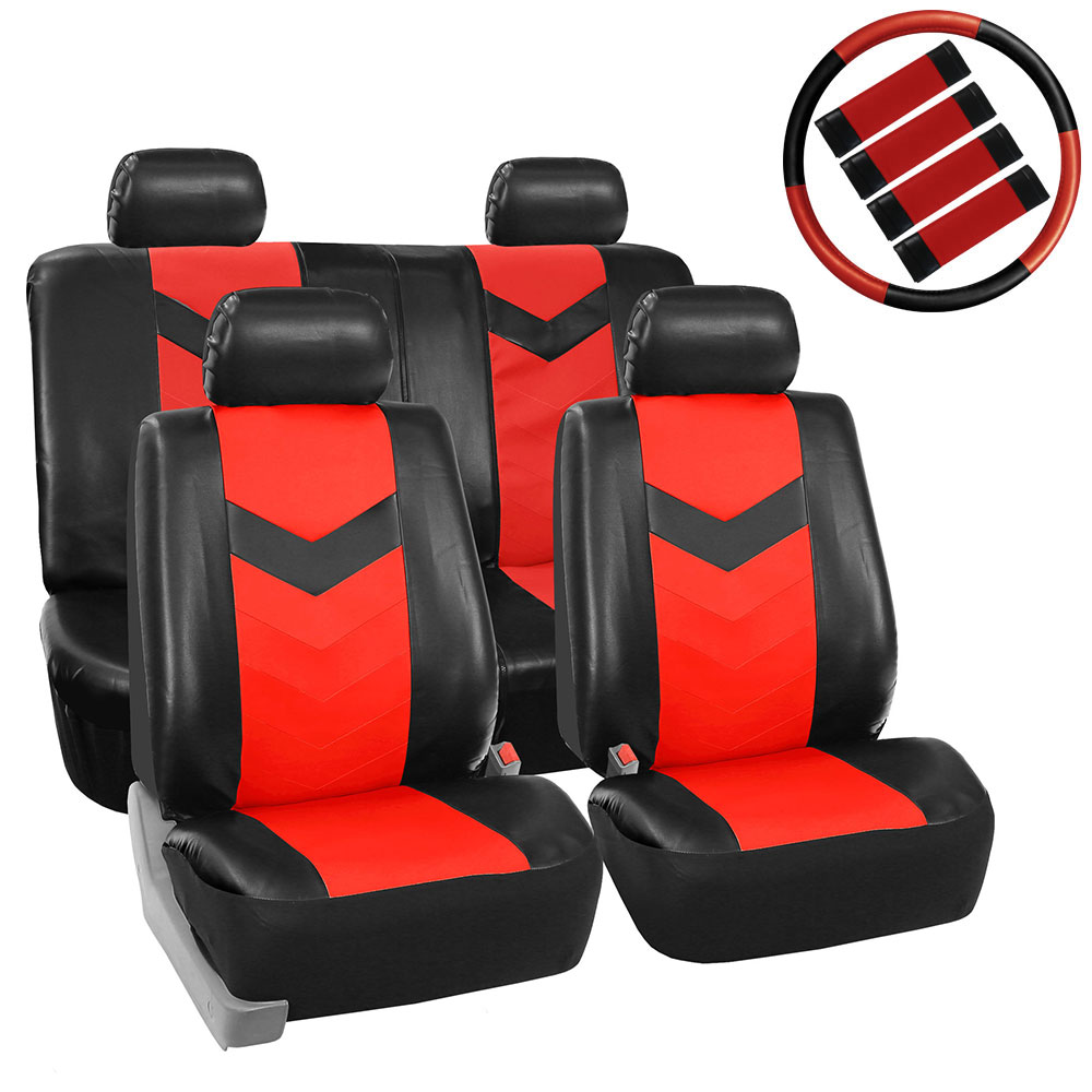 Faux Leather Car Seat Cover Sport Luxury Red For Car Suv Truck