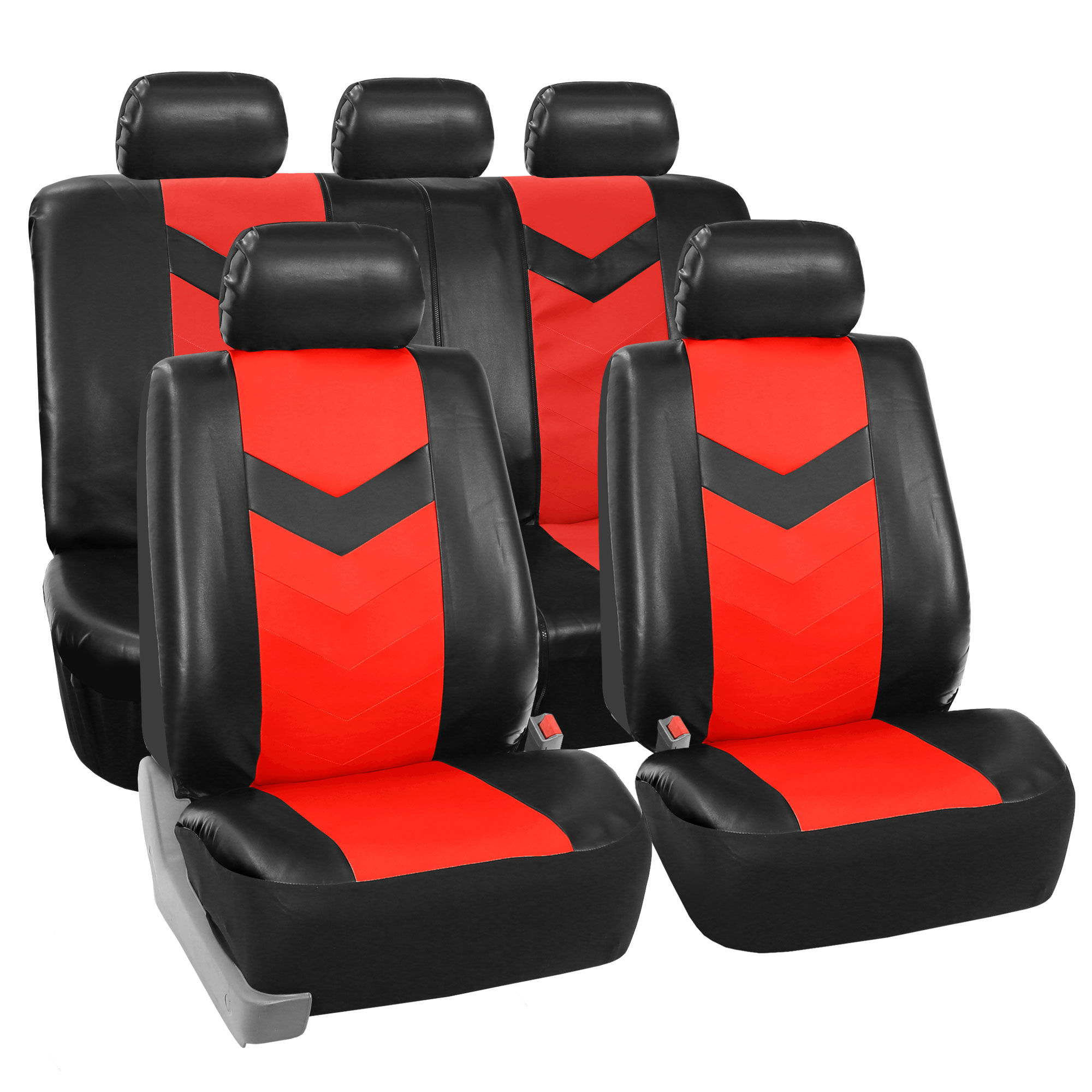 Faux Synthetic Leather Car Seat Covers For Auto Universal Fit Black Red
