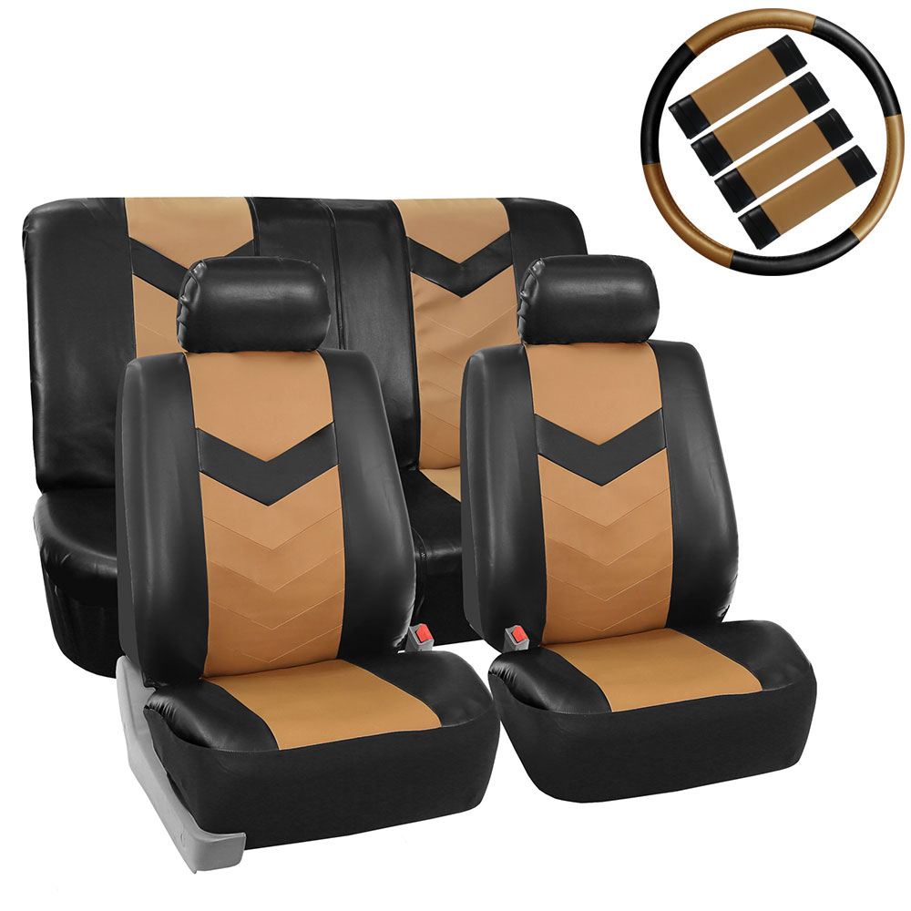 Best Quality Pu Leather Front Rear Car Seat Cover Tan