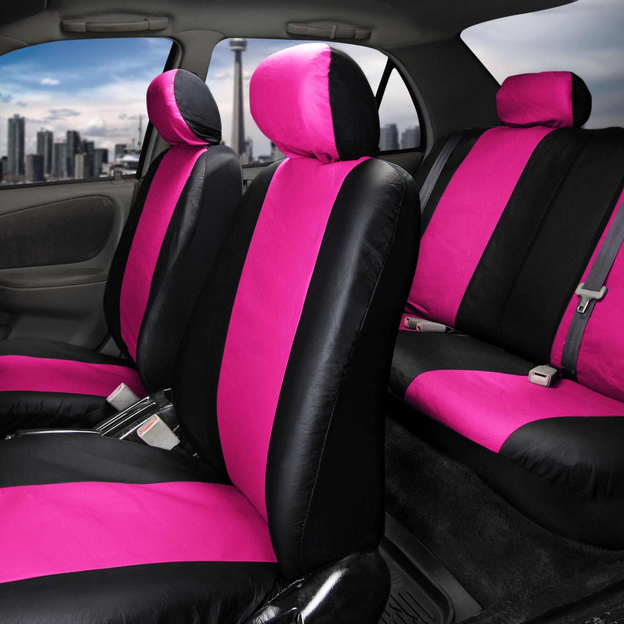 synthetic leather seat covers car suv auto w steering wheel belt pads 6 colors ebay. Black Bedroom Furniture Sets. Home Design Ideas