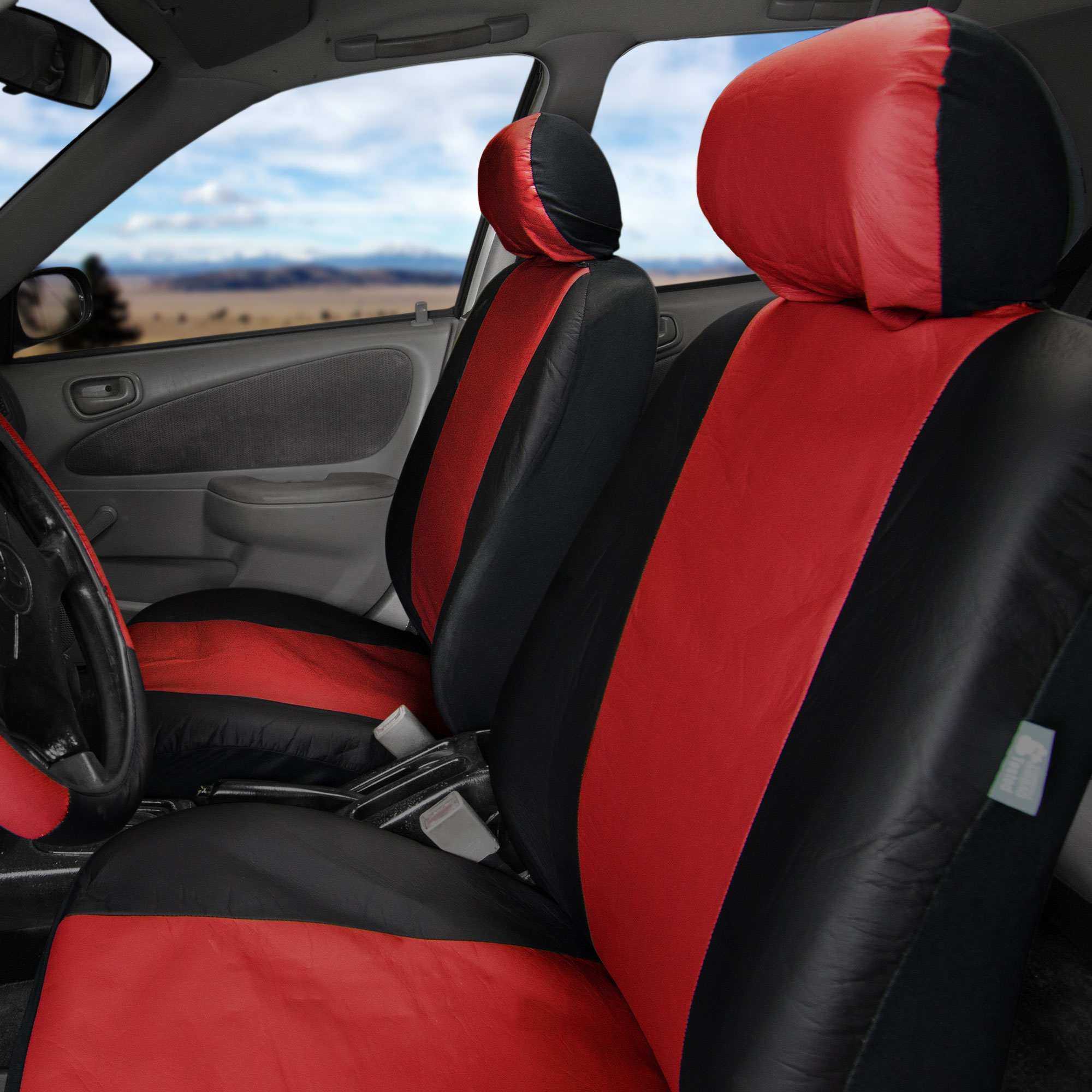 Synthetic leather seat covers car suv auto w steering wheel belt pads 6 colors ebay for Davis seat covers automotive interiors