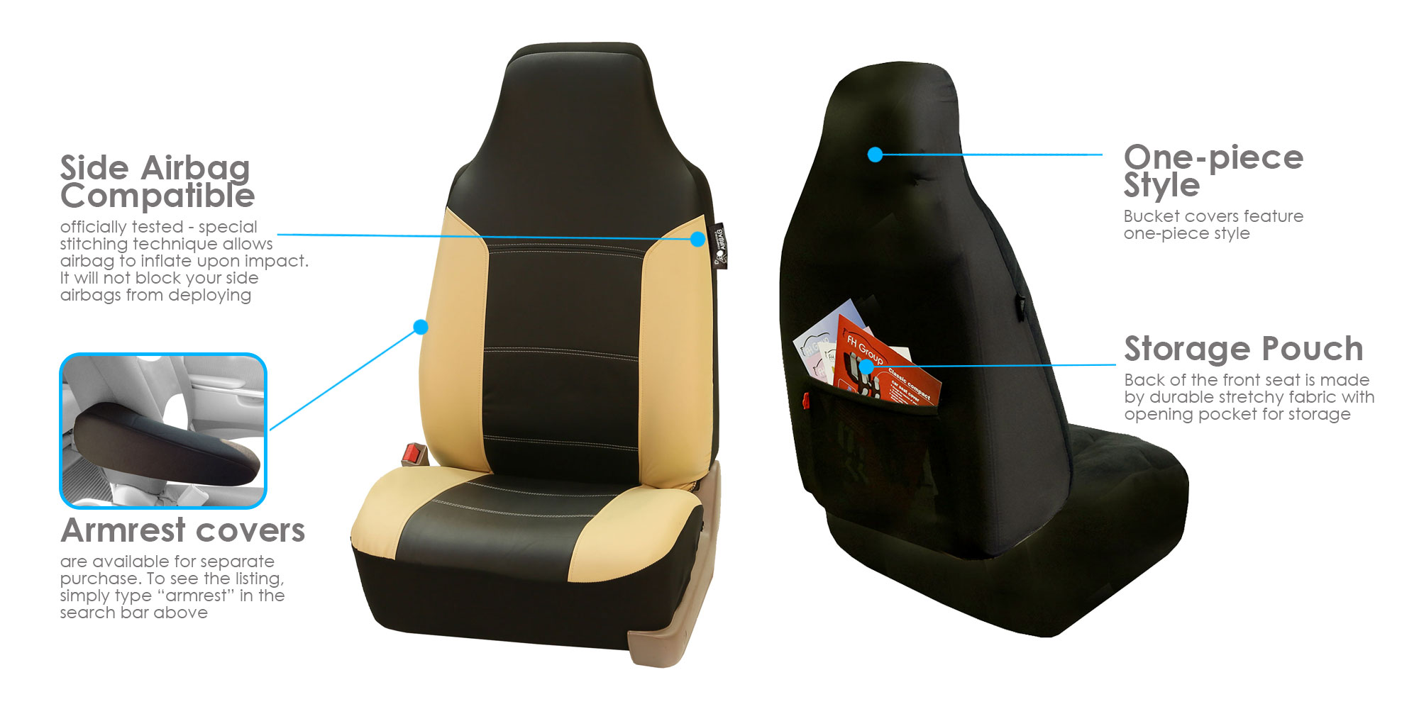 Highback Leather Car Seat Covers Full Set For Auto Beige