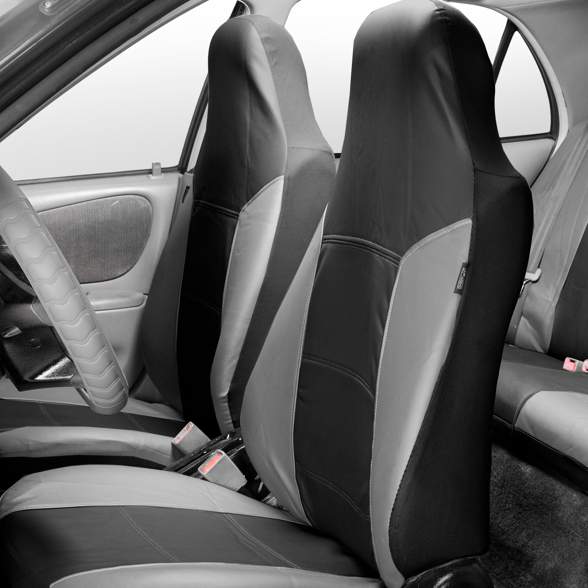Highback Seat Covers Leather Gray Black Combo With Gray