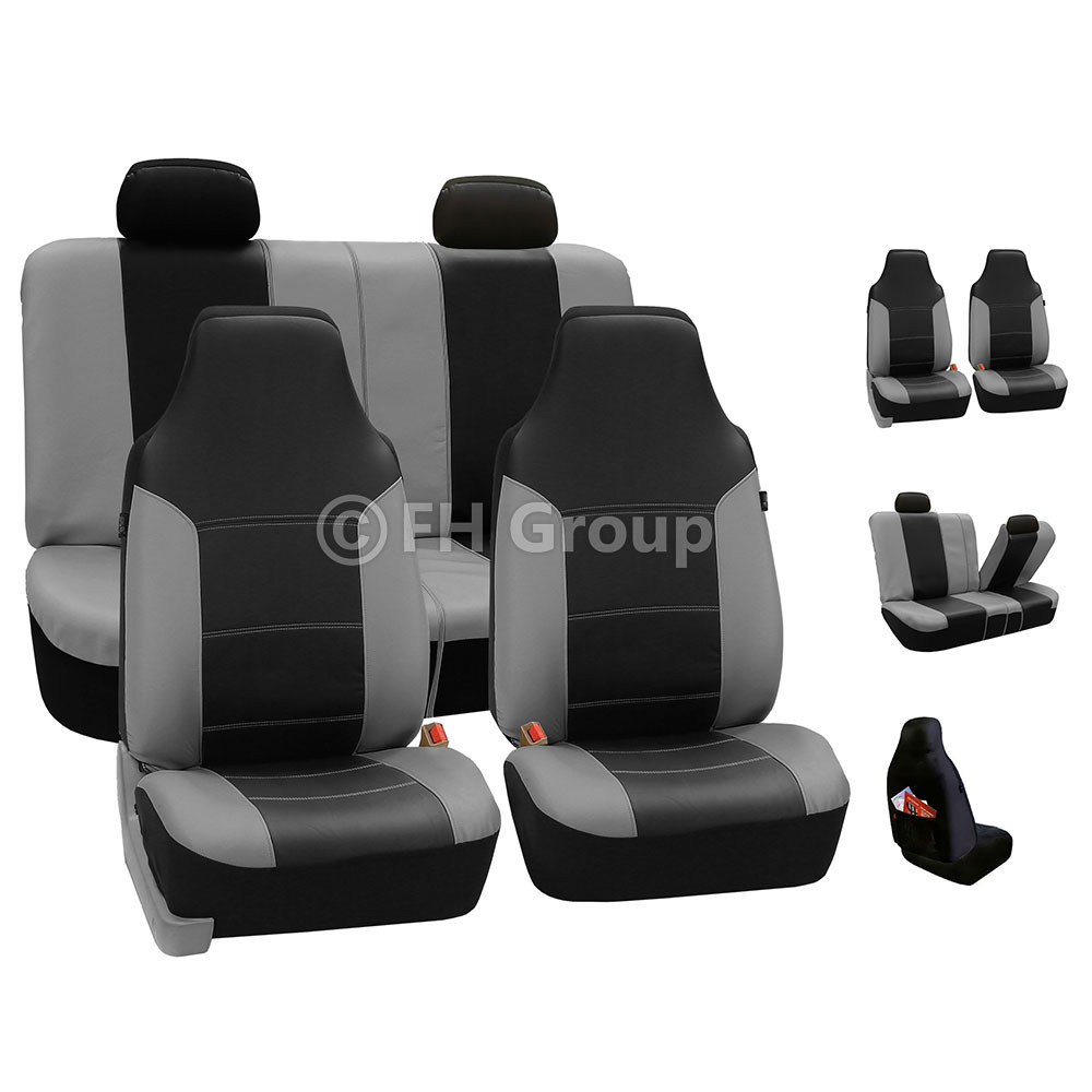 best quality sport car seat cover leather gray for car suv truck ebay. Black Bedroom Furniture Sets. Home Design Ideas