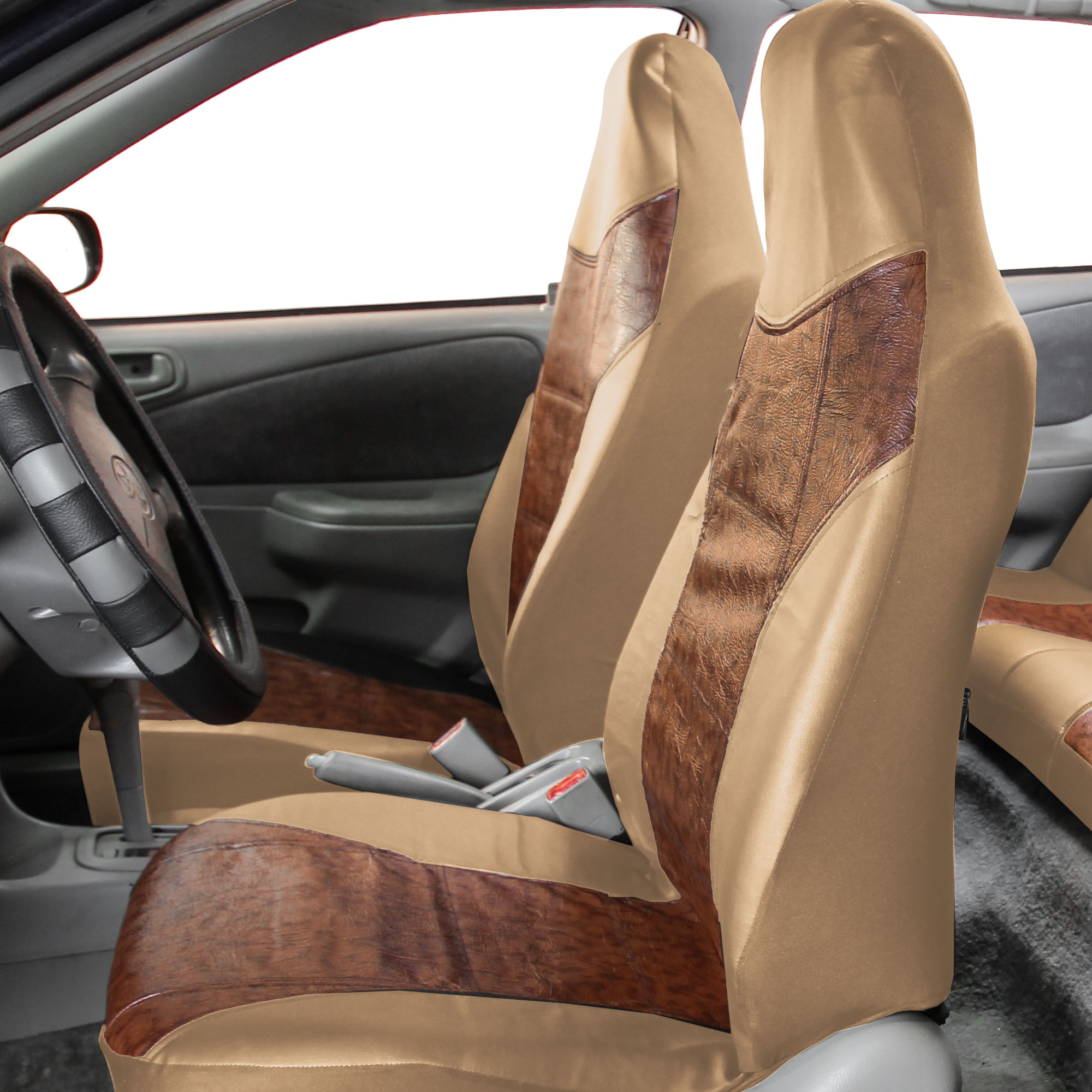 Faux Leather Car Seat Covers Front Airbag